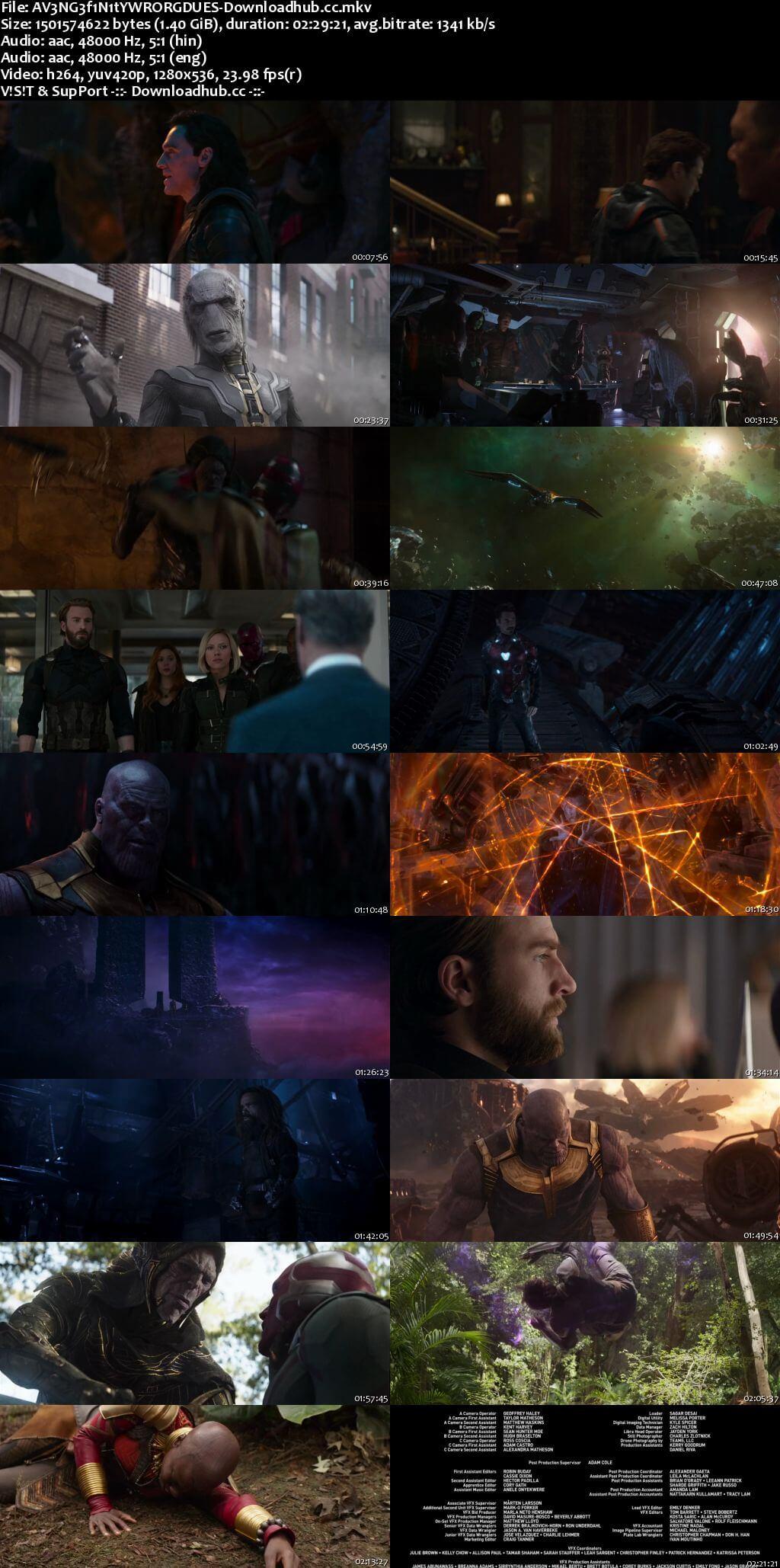 Avengers Infinity War 2018 Hindi ORG Dual Audio 720p BluRay ESubs