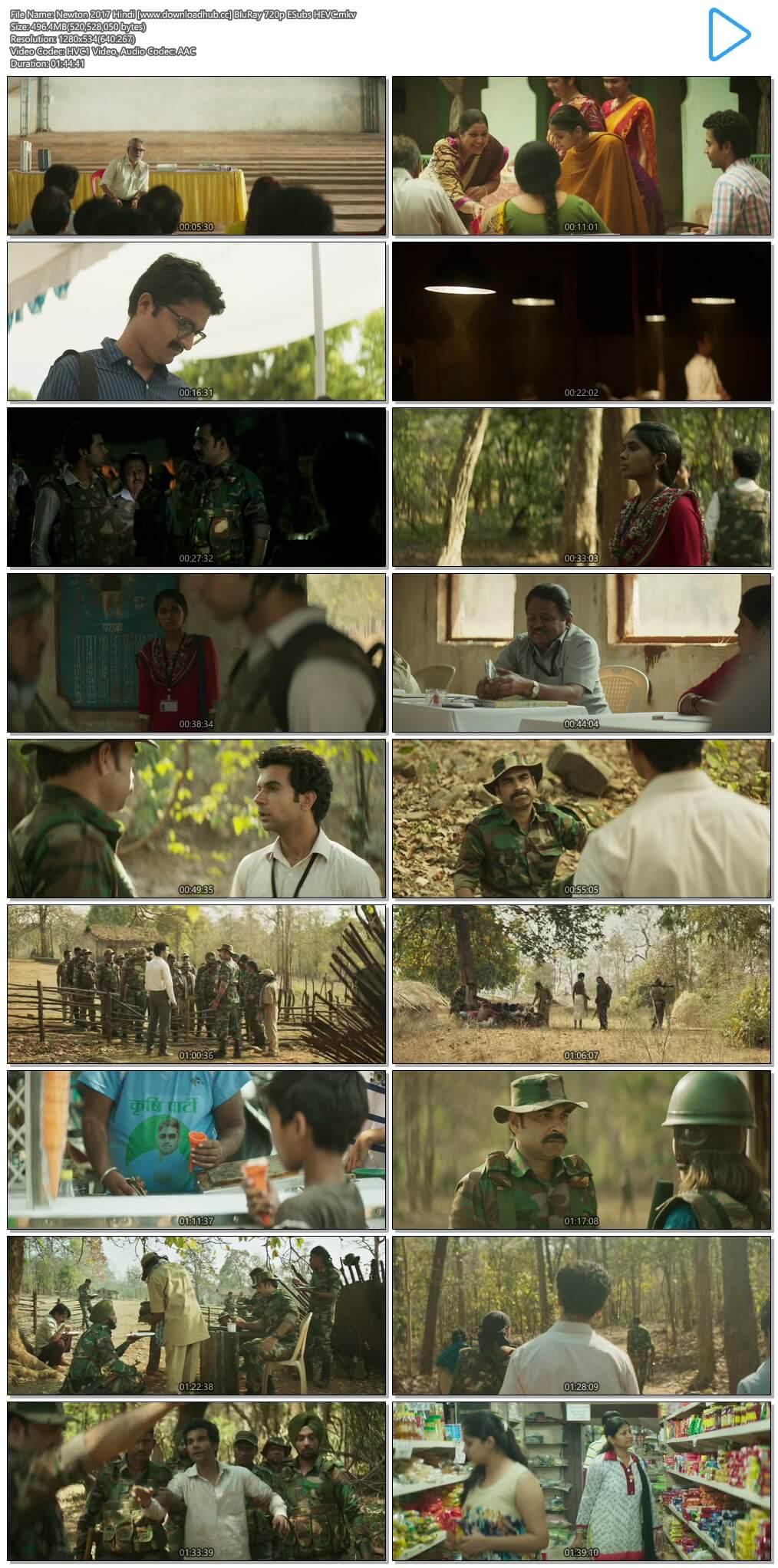 Newton 2017 Hindi 500MB BluRay 720p ESubs HEVC