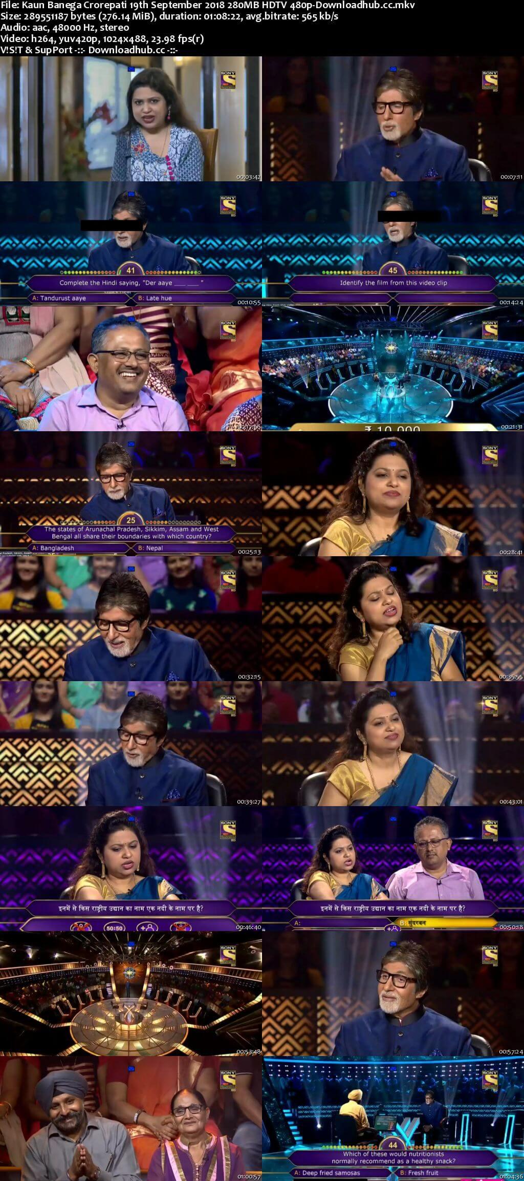 Kaun Banega Crorepati 19th September 2018 280MB HDTV 480p