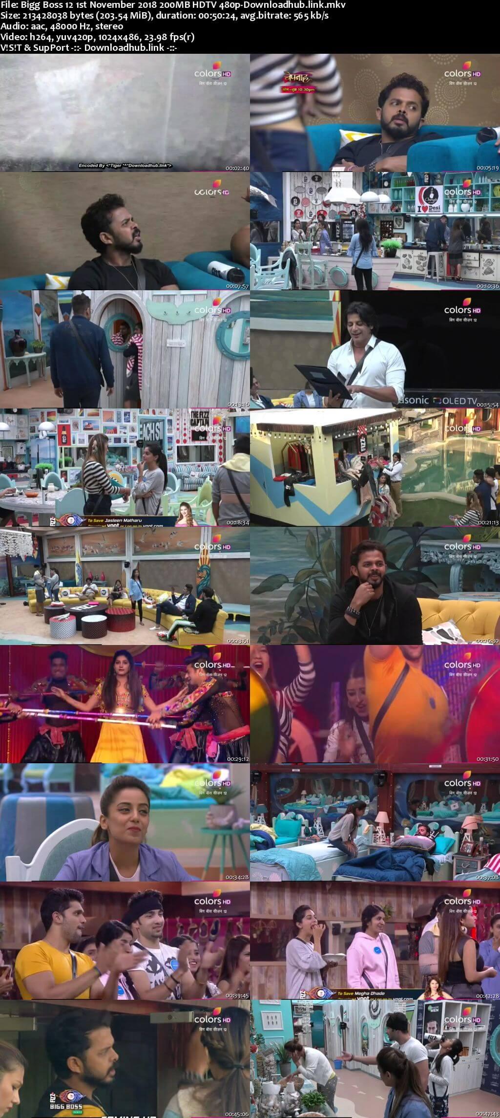 Bigg Boss 12 01 November 2018 Episode 46 HDTV 480p