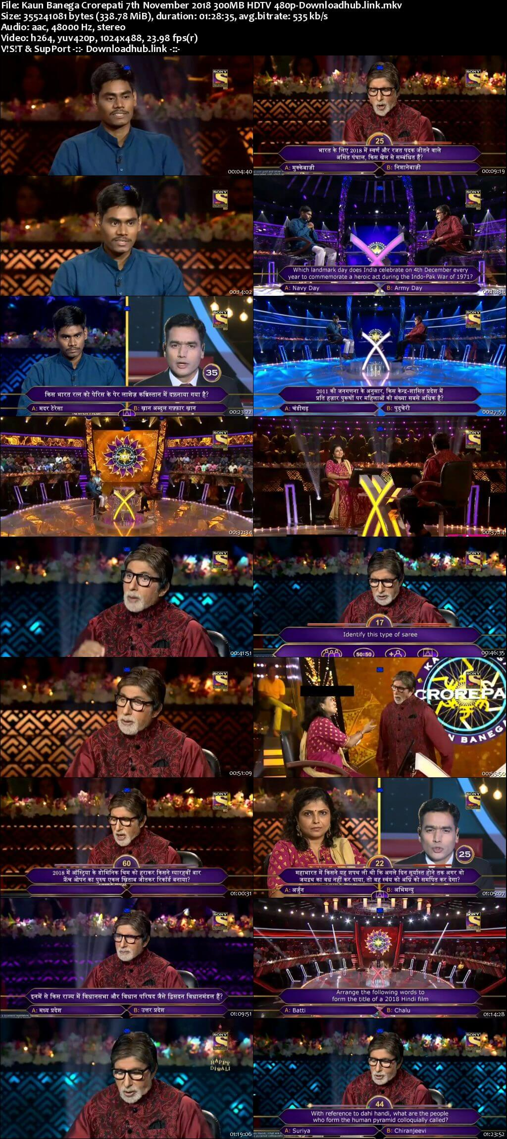 Kaun Banega Crorepati 7th November 2018 300MB HDTV 480p