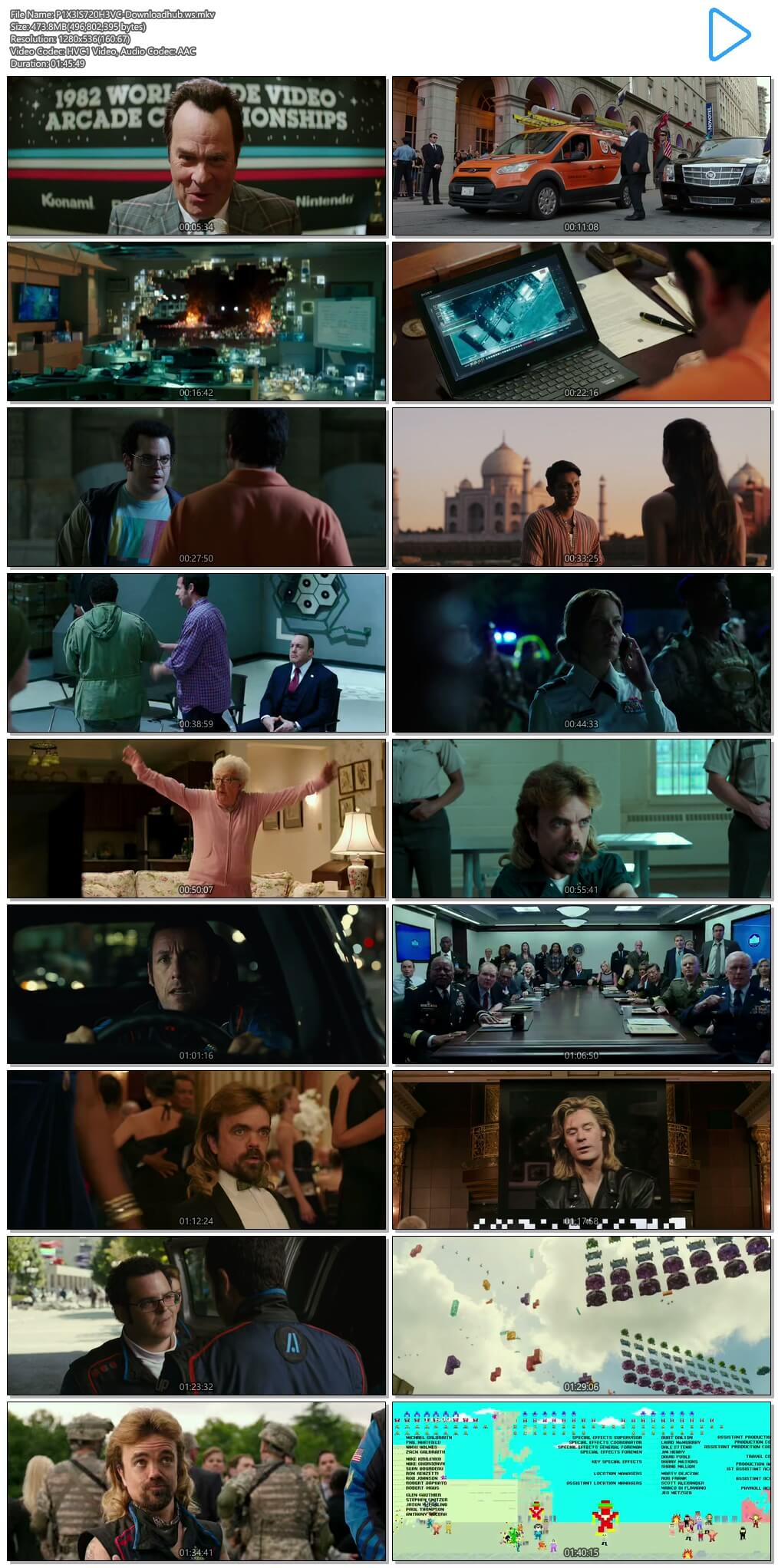 Pixels 2015 Hindi Dual Audio 720p HEVC BluRay Free Download