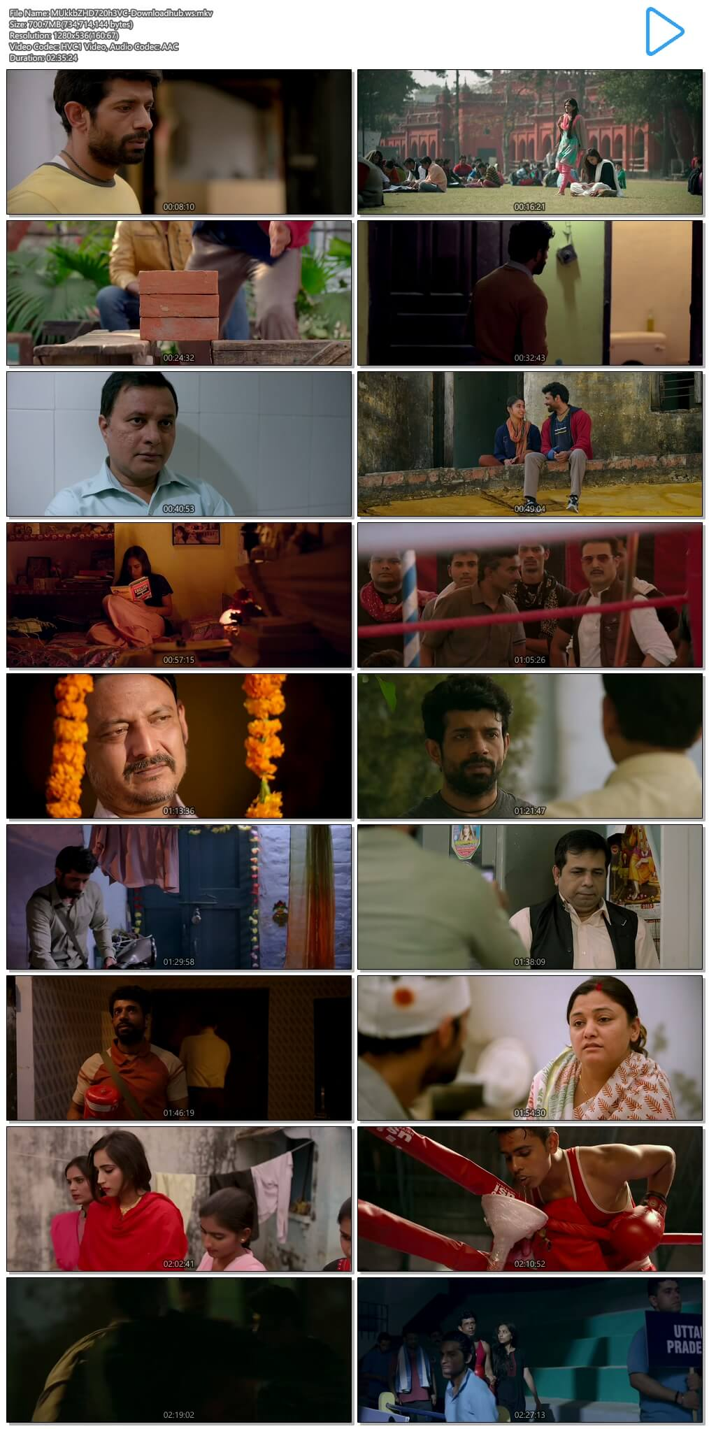 Mukkabaaz 2017 Hindi 720p HEVC HDRip ESubs