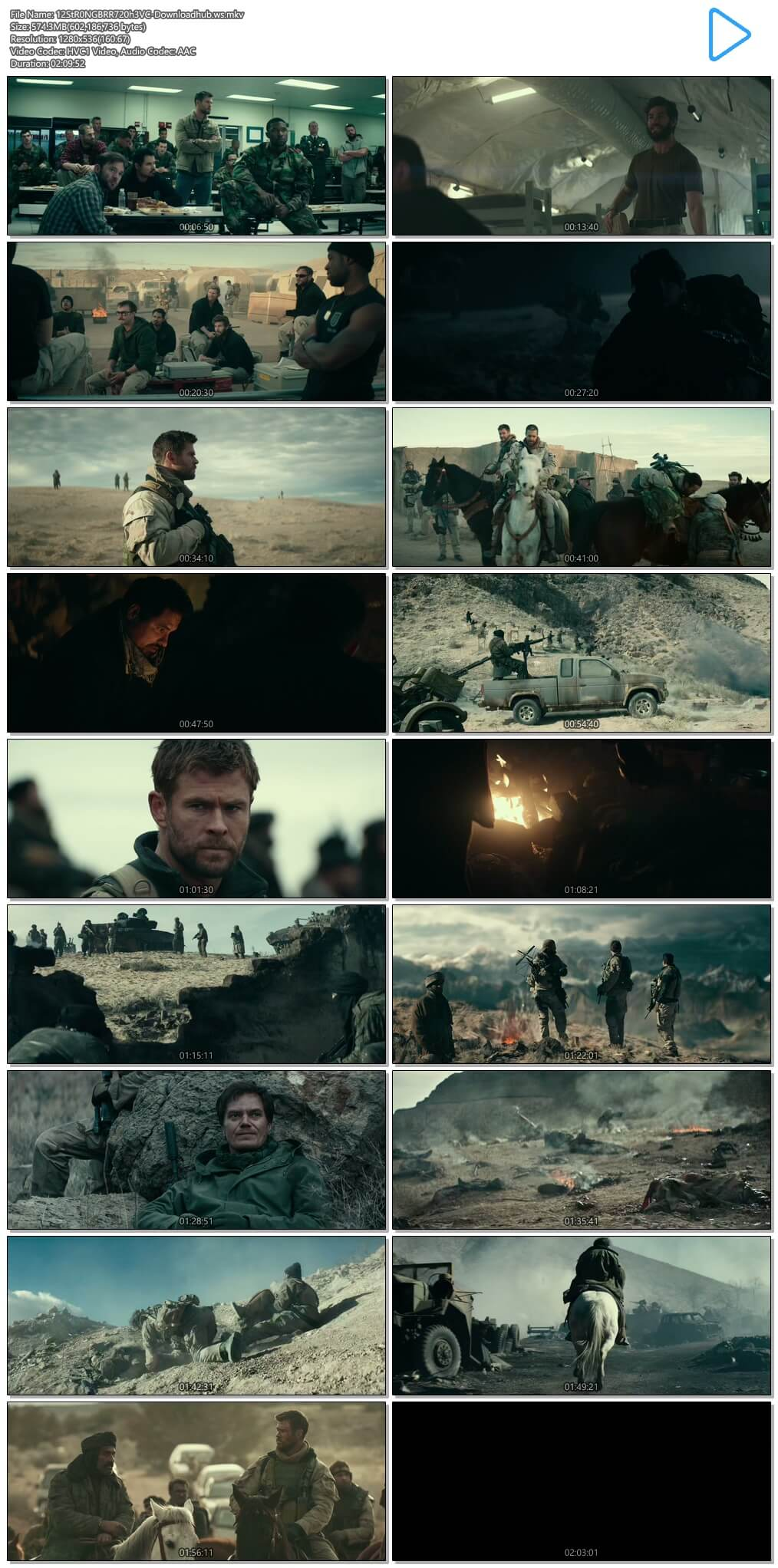 12 Strong 2018 English 720p HEVC BRRip ESubs