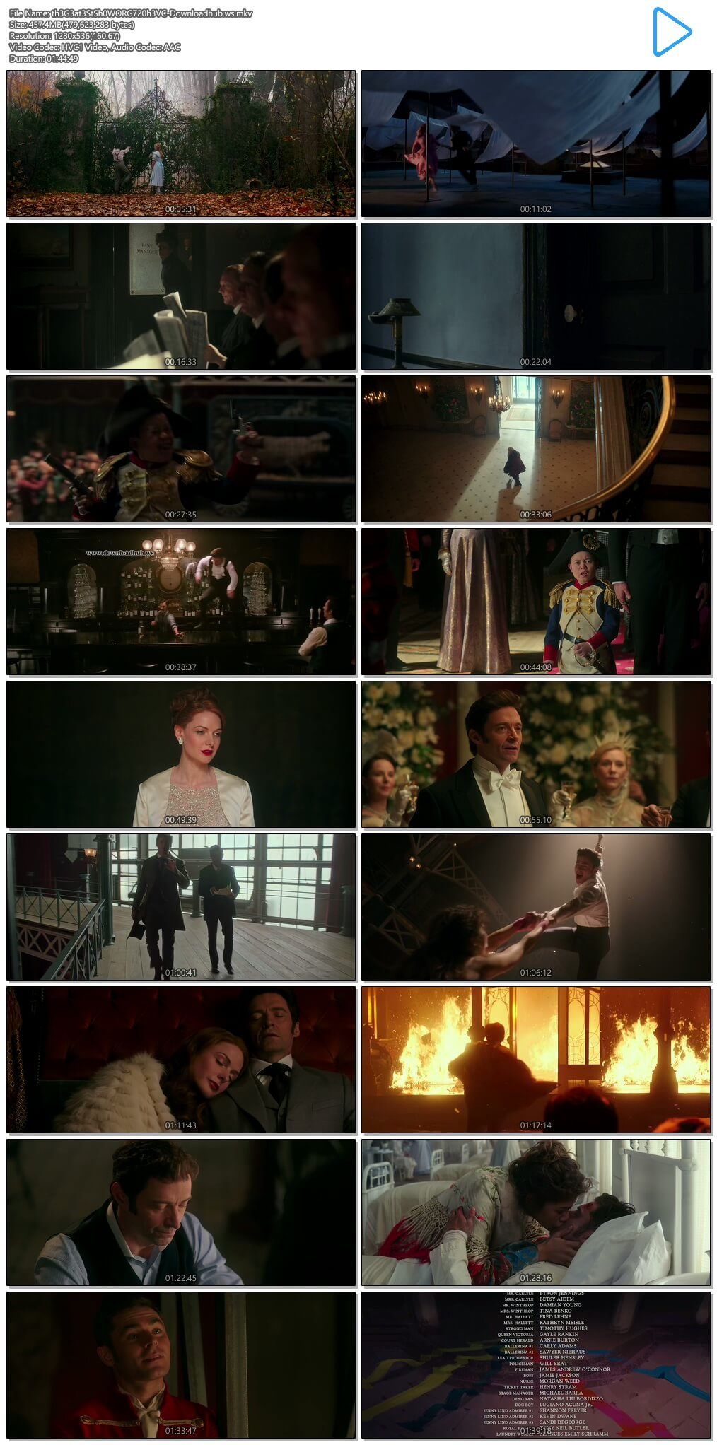 The Greatest Showman 2017 Hindi Dual Audio 720p HEVC BluRay Free Download