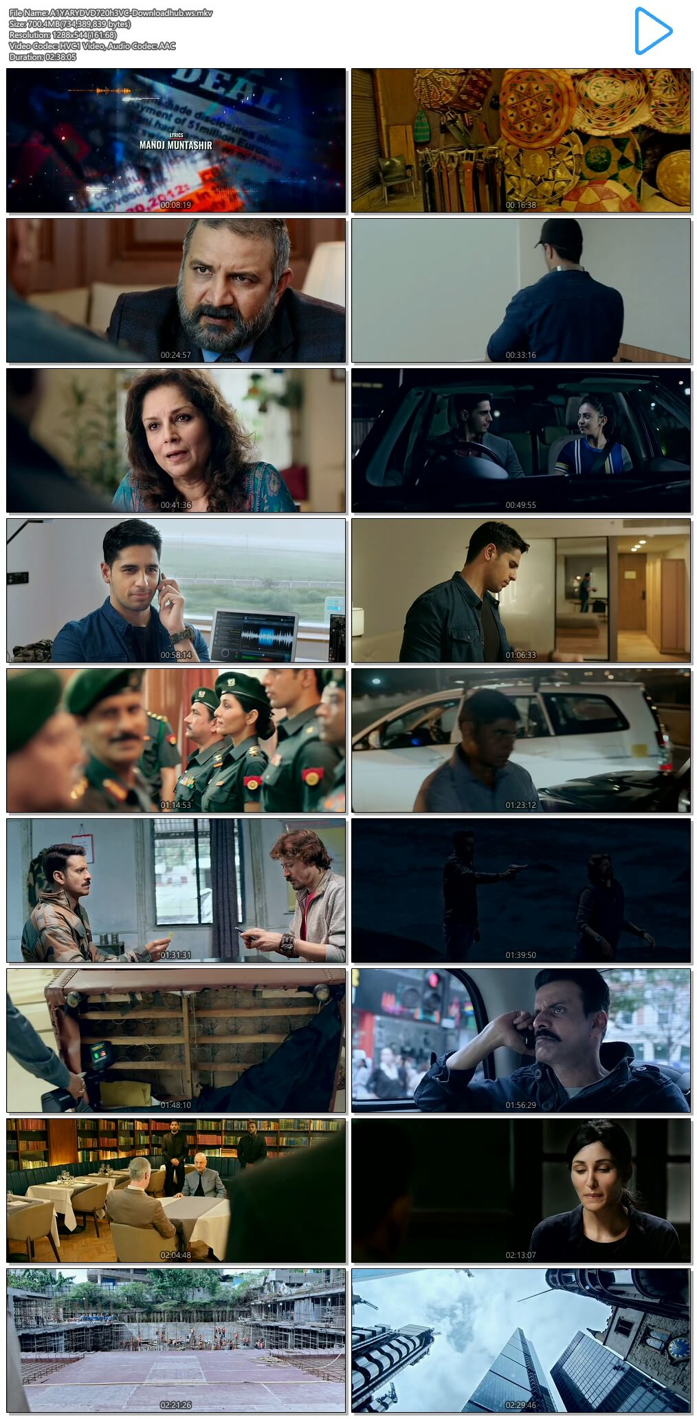 Aiyaary 2018 Hindi 720p HEVC DVDRip ESubs