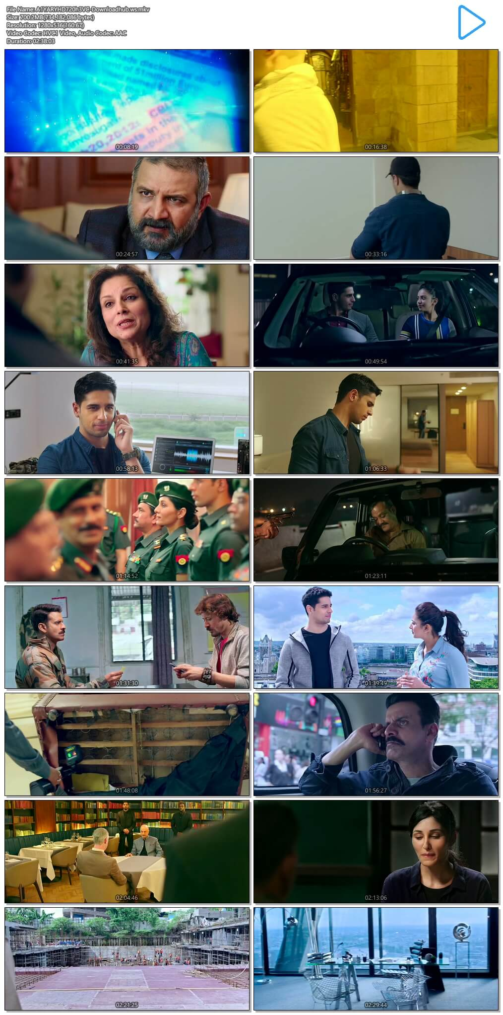 Aiyaary 2018 Hindi 720p HEVC HDRip ESubs