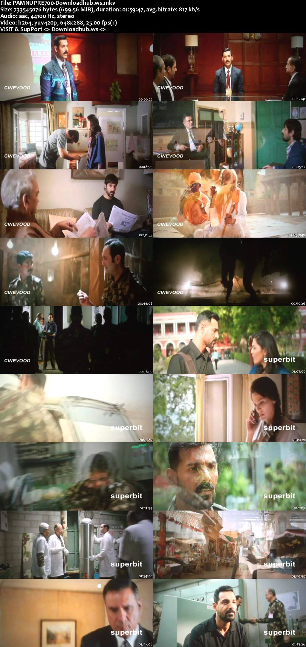 Parmanu The Story of Pokhran 2018 Hindi 700MB Pre-DVDRip x264