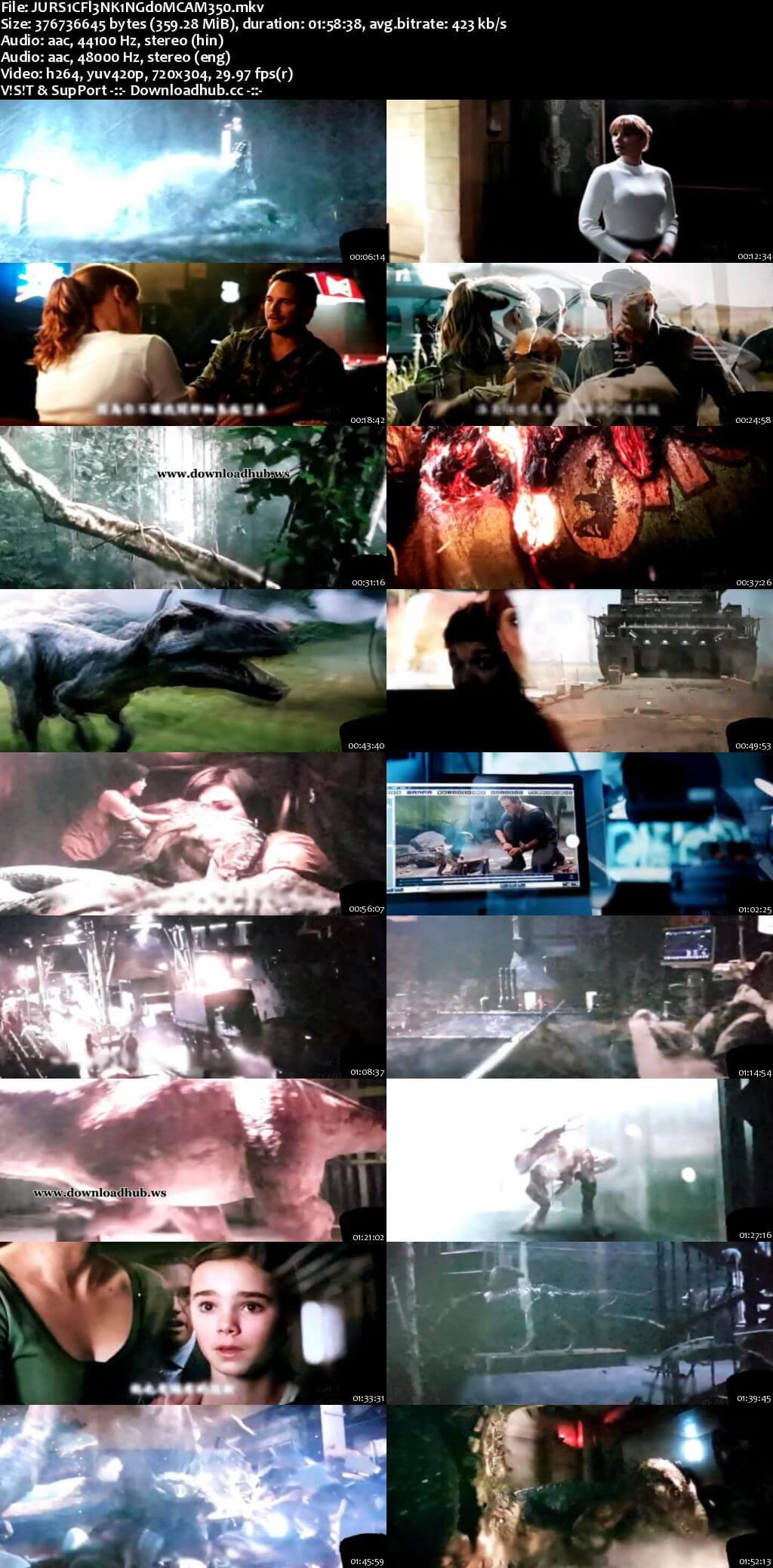 Jurassic World Fallen Kingdom 2018 Hindi Dual Audio 350MB HDCAM 480p