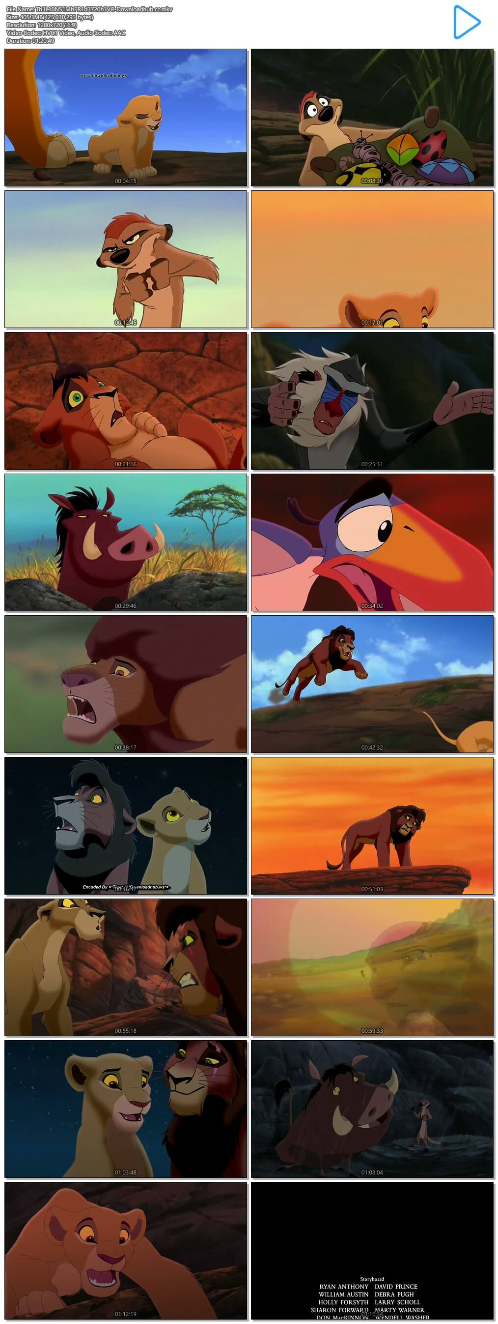 The Lion King 2 Simbas Pride 1998 Hindi Dual Audio 720p HEVC BluRay Free Download