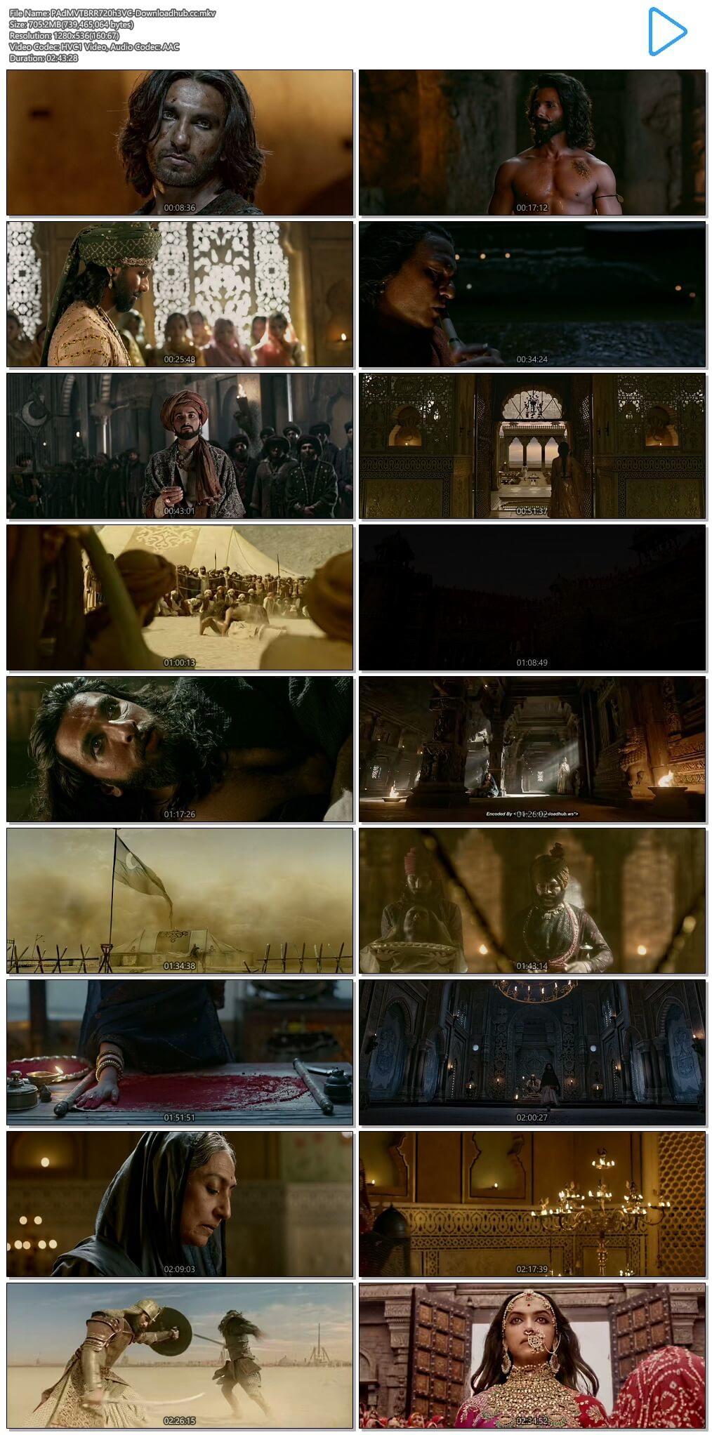 Padmaavat 2018 Hindi 720p HEVC BluRay ESubs
