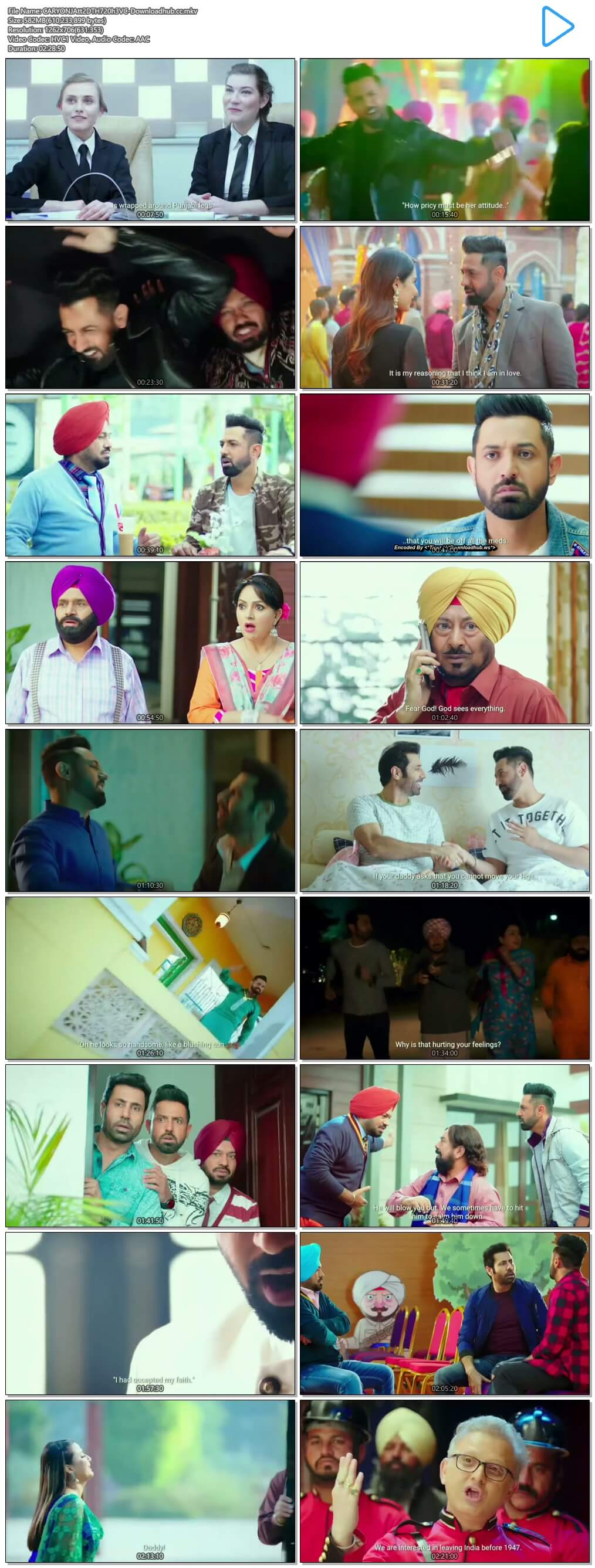 Carry on Jatta 2 2018 Punjabi 550MB DTHRip 720p HC ESubs HEVC