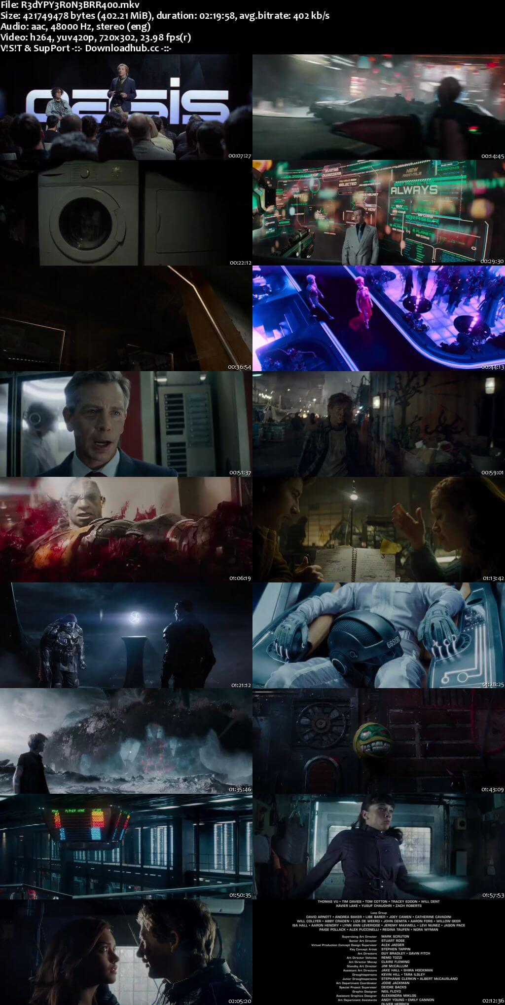 Ready Player One 2018 English 400MB BRRip 480p ESubs