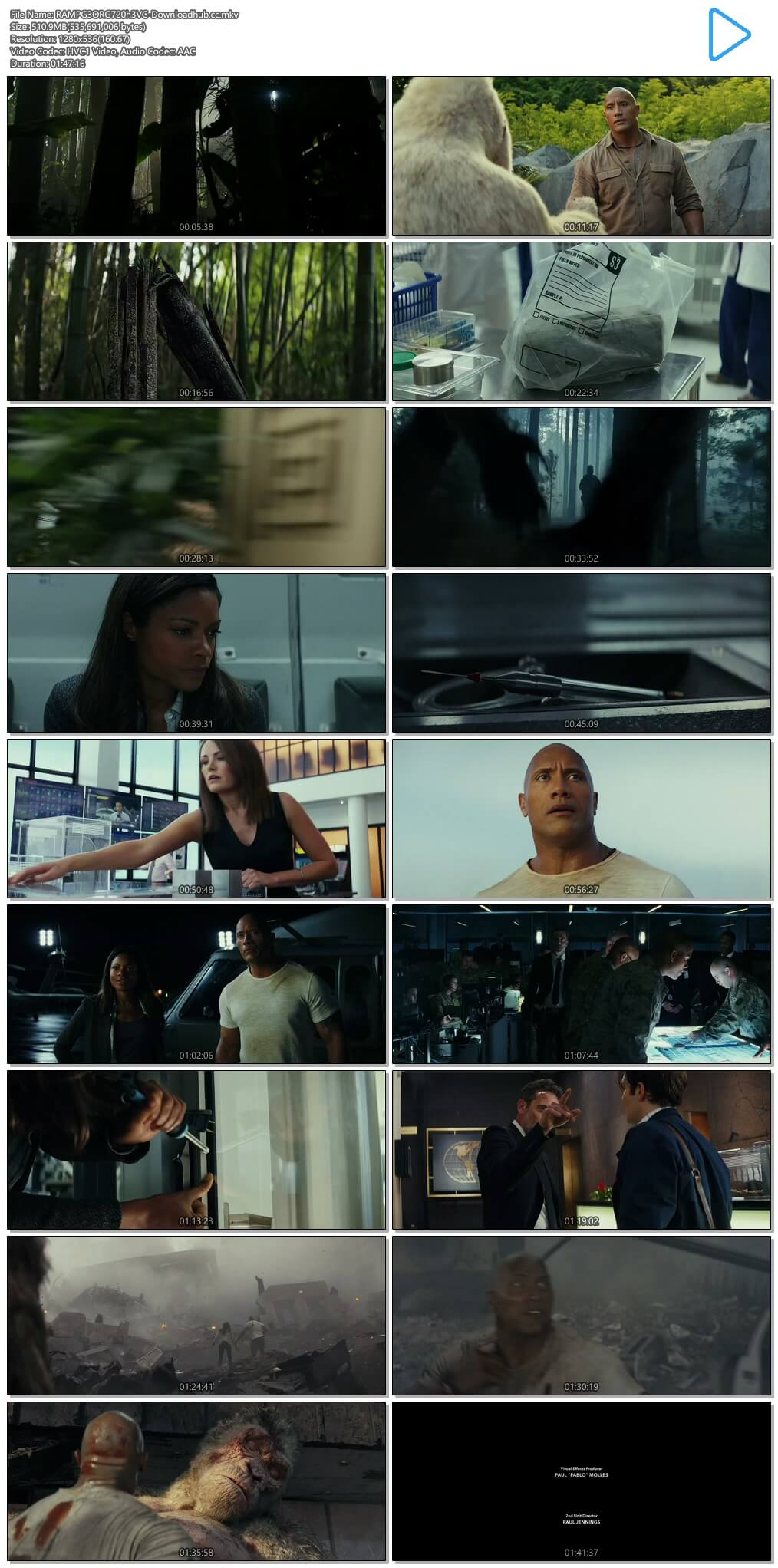 Rampage 2018 Hindi ORG Dual Audio 500MB BluRay 720p ESubs HEVC