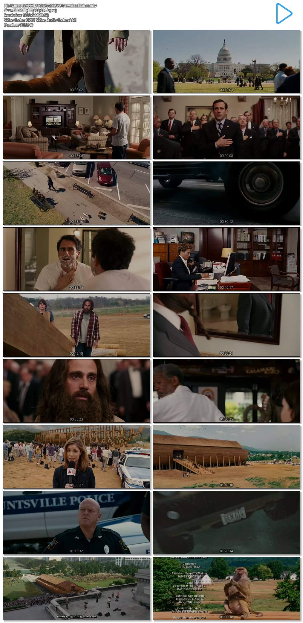 Evan Almighty 2007 Hindi Dual Audio 450MB BluRay 720p ESubs HEVC
