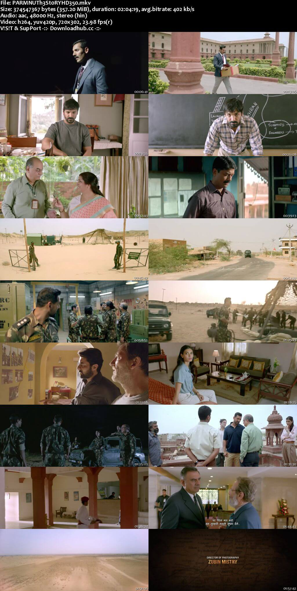 Parmanu The Story of Pokhran 2018 Hindi 350MB HDRip 480p
