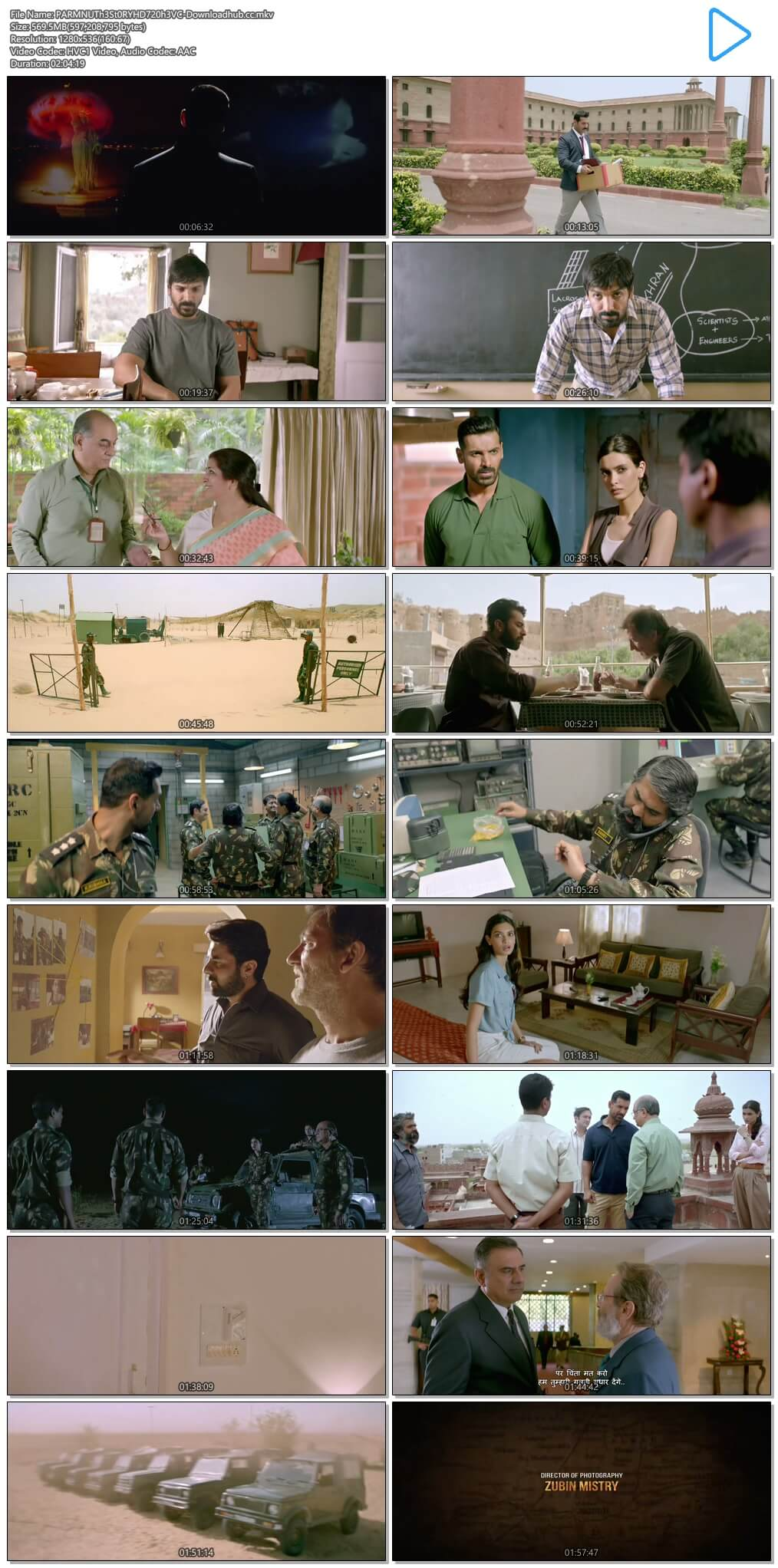 Parmanu The Story of Pokhran 2018 Hindi 550MB HDRip 720p HEVC