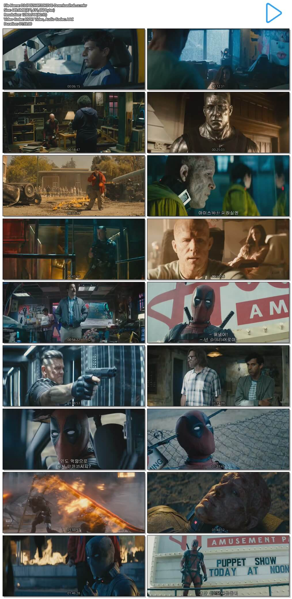 Deadpool 2 2018 Hindi Dual Audio 450MB HC HDRip 720p HEVC