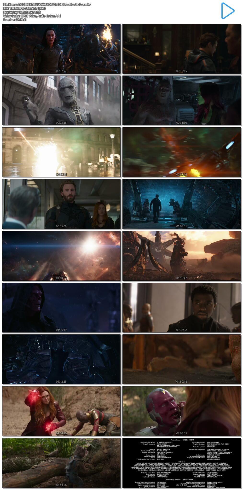 Avengers Infinity War 2018 Hindi Dual Audio 700MB Web-DL 720p ESubs HEVC