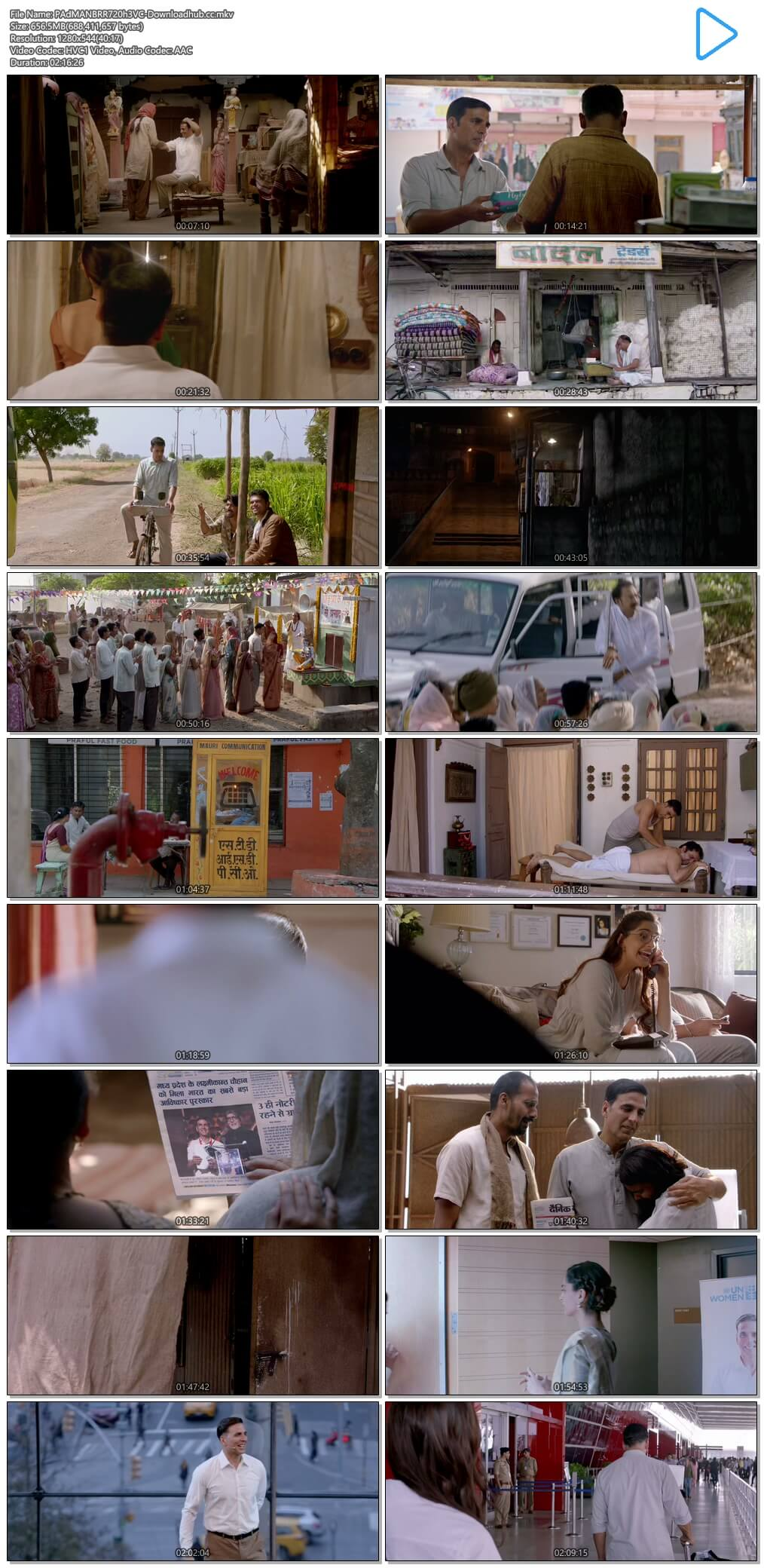 Padman 2018 Hindi 650MB BluRay 720p ESubs HEVC