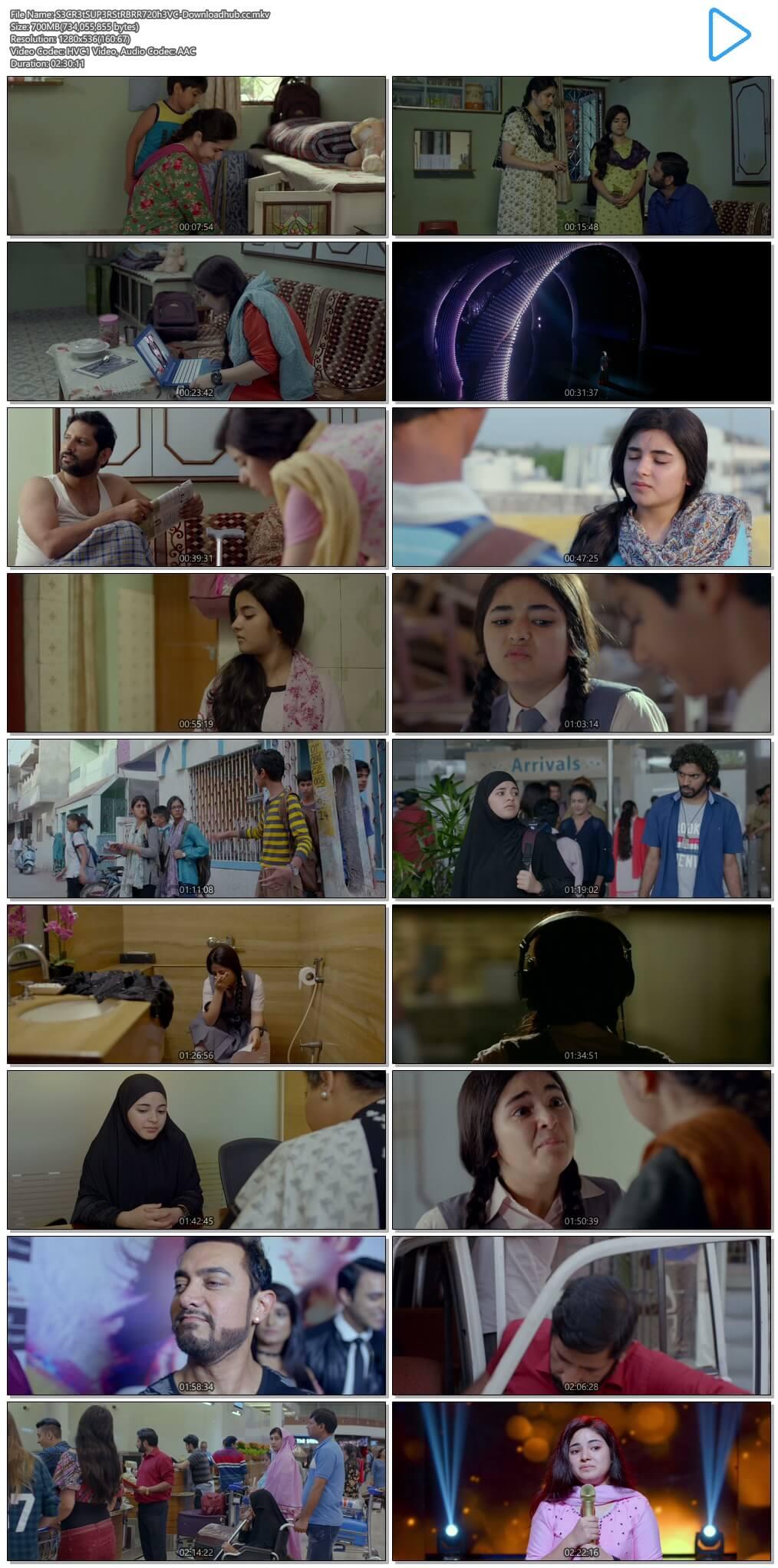Secret Superstar 2017 Hindi 700MB BluRay 720p ESubs HEVC