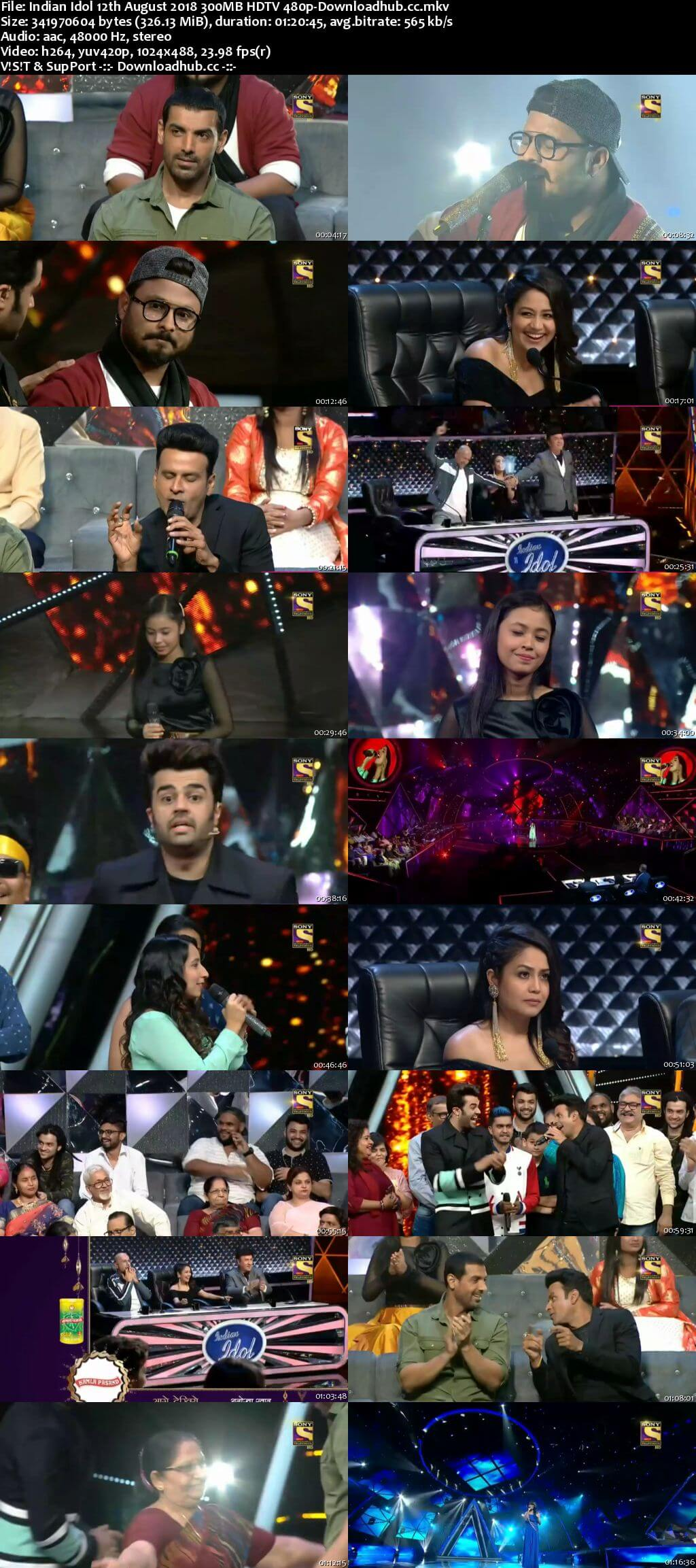 Indian Idol 12 August 2018 Episode 12 HDTV 480p
