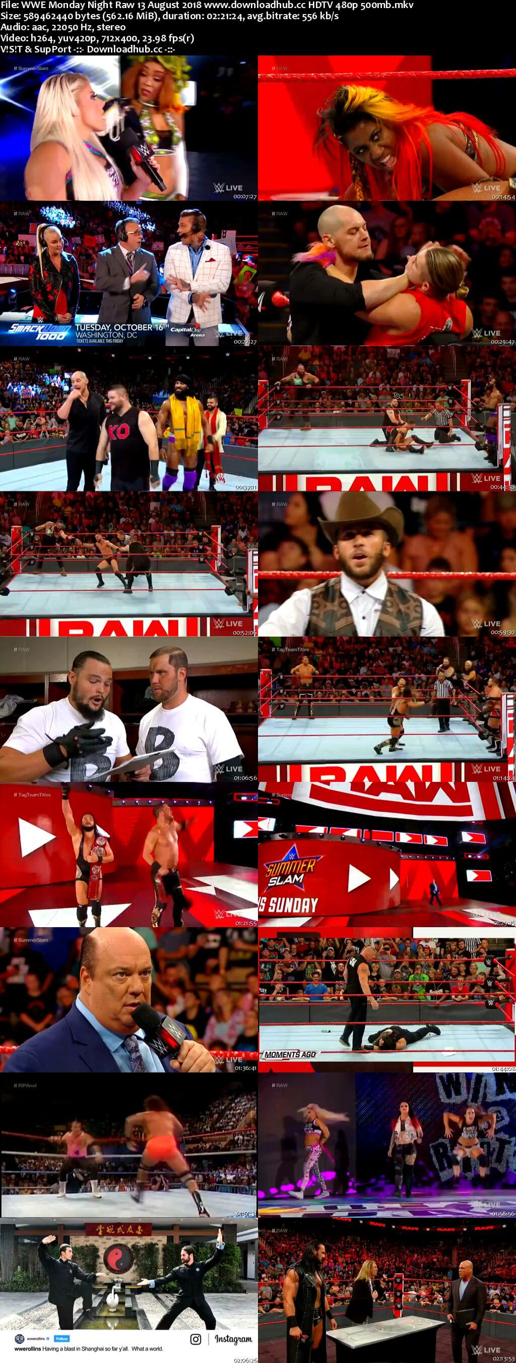WWE Monday Night Raw 13 August 2018 480p HDTV Download