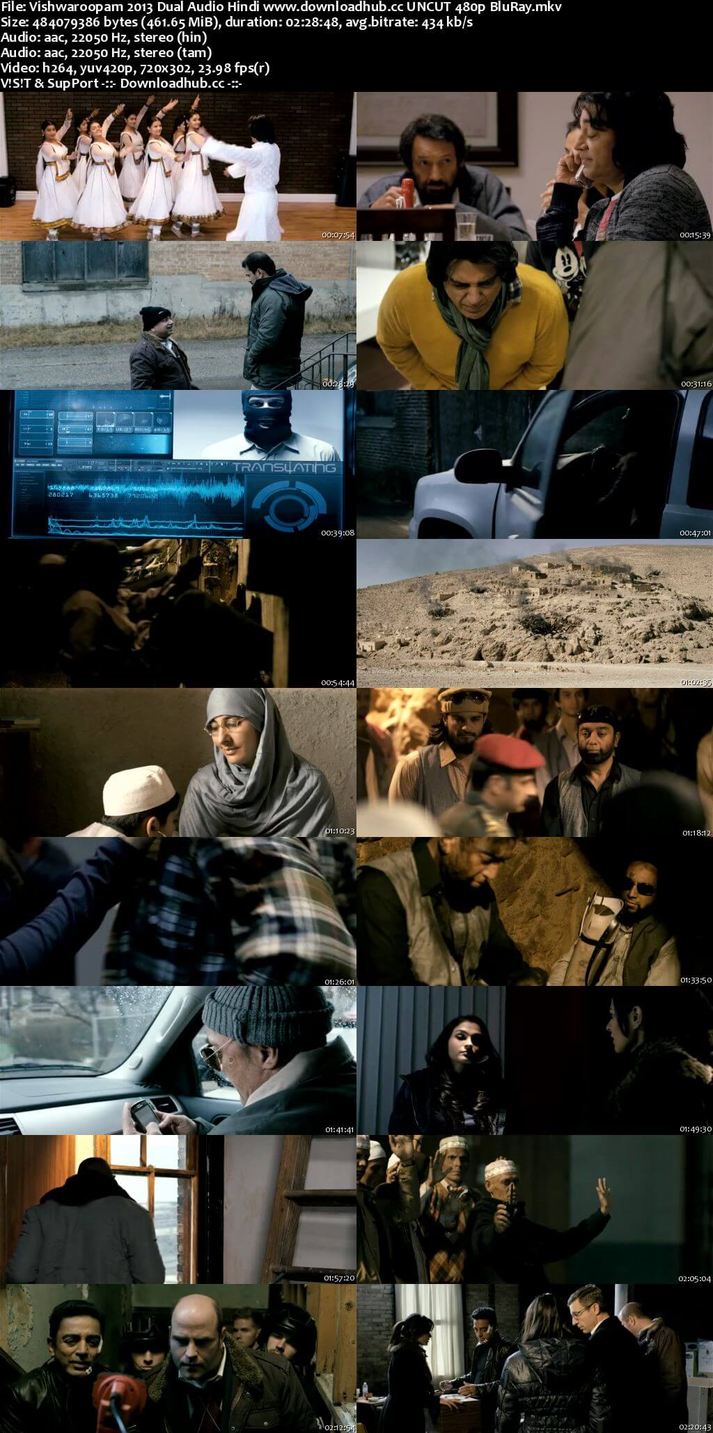 Vishwaroopam 2013 Hindi Dual Audio 450MB UNCUT BluRay 480p