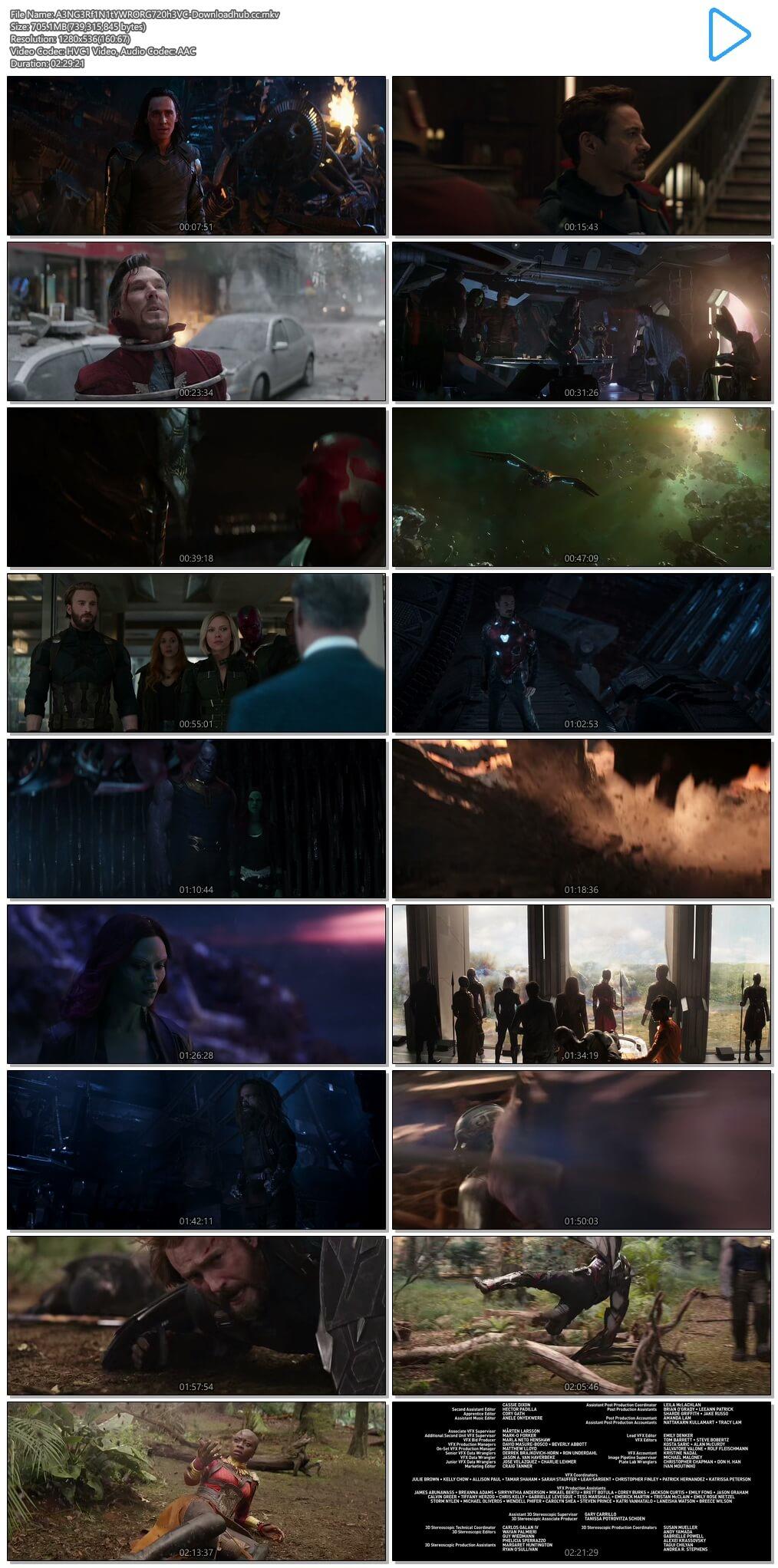 Avengers Infinity War 2018 Hindi ORG Dual Audio 700MB BluRay 720p ESubs HEVC