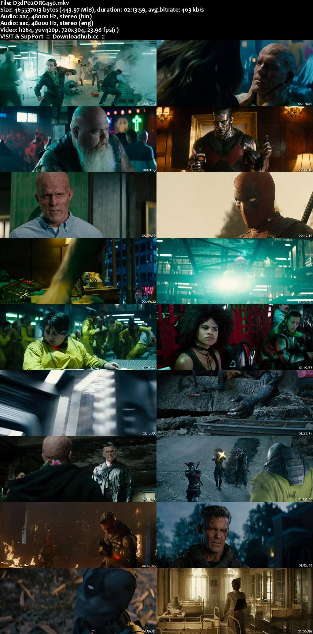 Deadpool 2 2018 Hindi ORG Dual Audio 450MB Super Duper Cut BluRay 480p ESubs