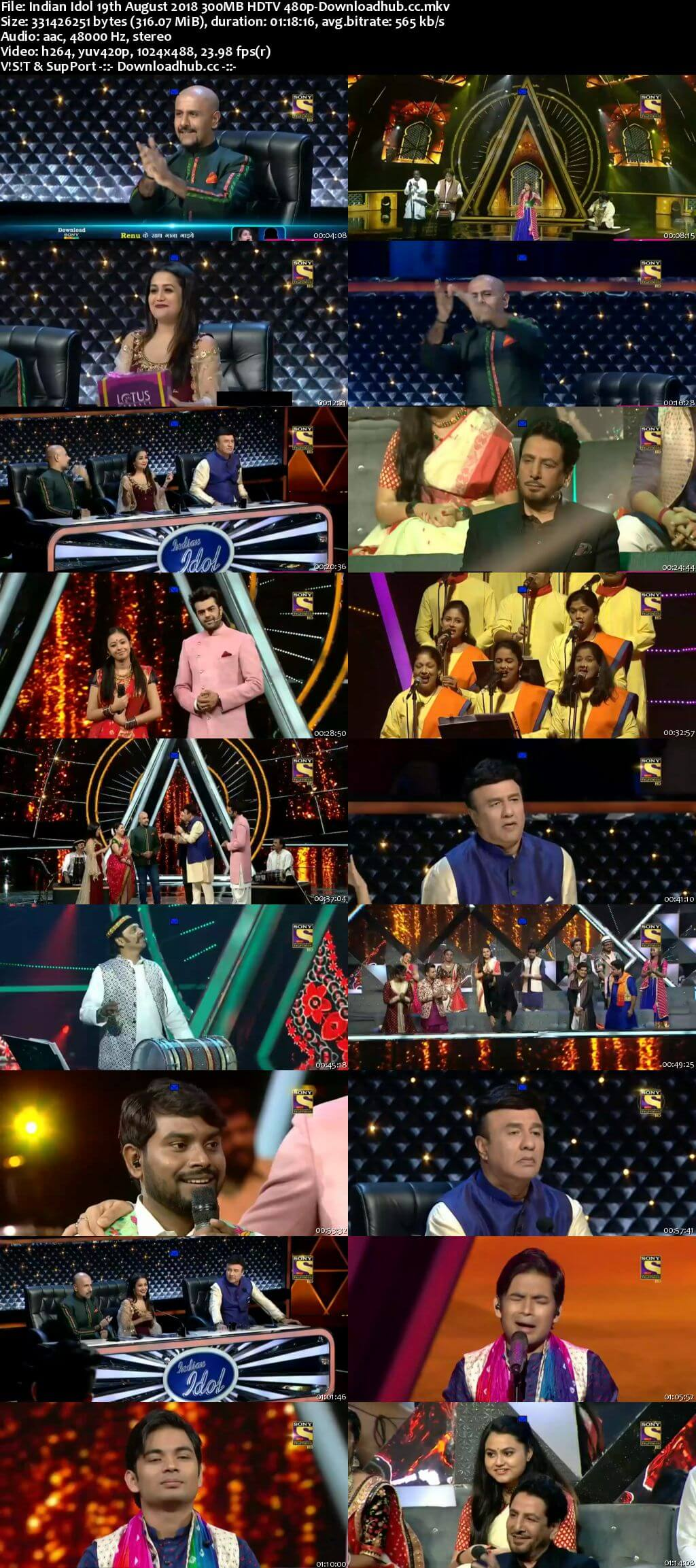 Indian Idol 19 August 2018 Episode 14 HDTV 480p