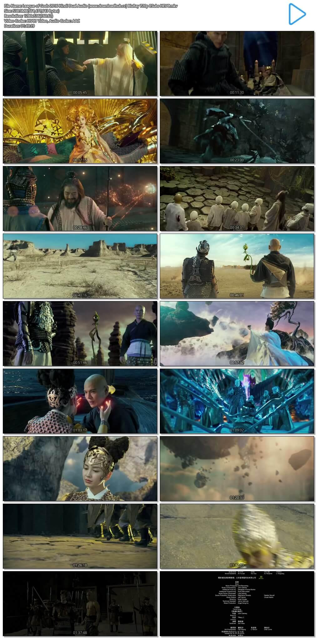 League of Gods 2016 Hindi Dual Audio 500MB BluRay 720p ESubs HEVC