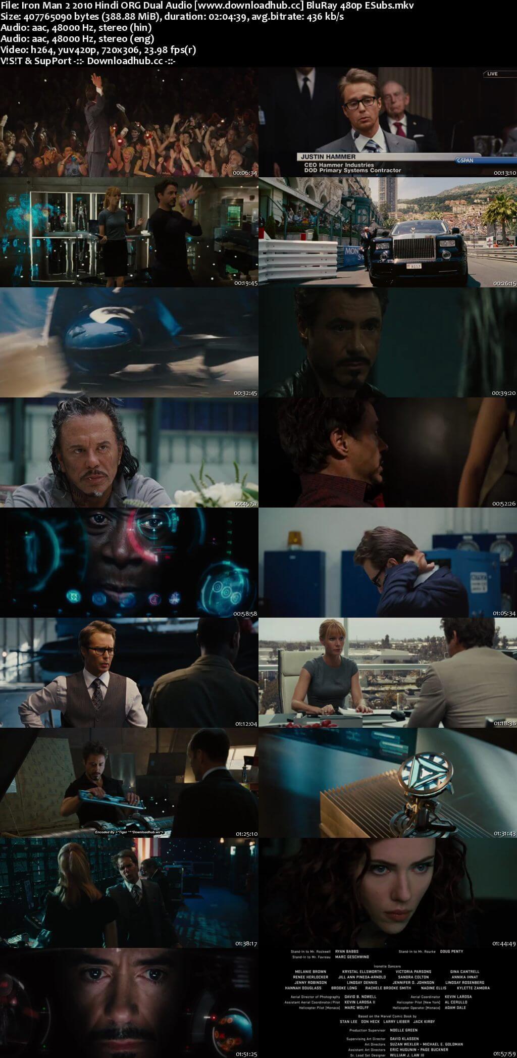 Iron Man 2 2010 Hindi ORG Dual Audio 400MB BluRay 480p ESubs