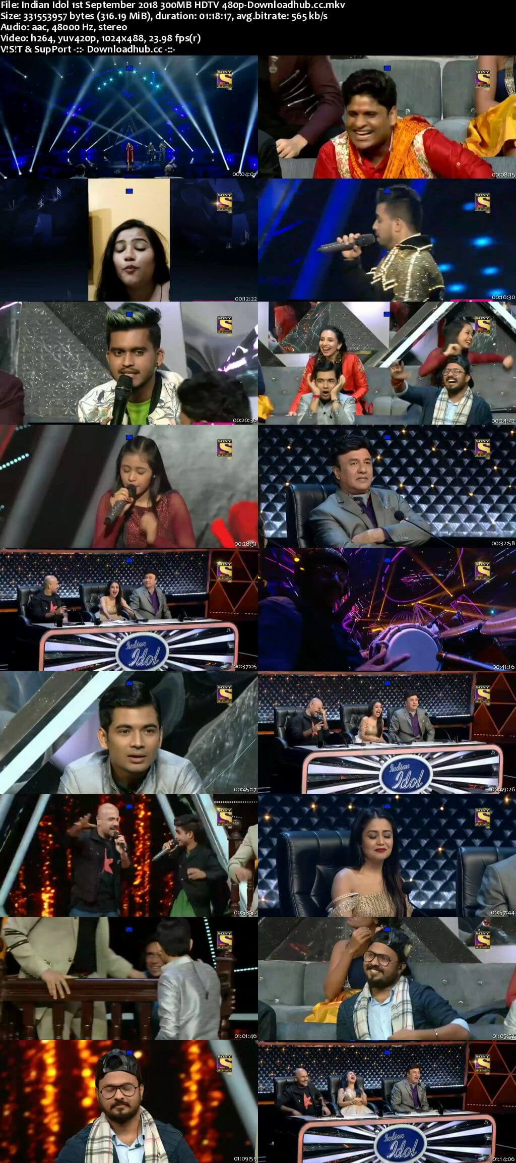 Indian Idol 01 September 2018 Episode 17 HDTV 480p