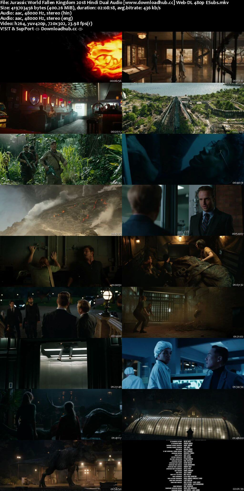 Jurassic World Fallen Kingdom 2018 Hindi Dual Audio 400MB Web-DL 480p ESubs