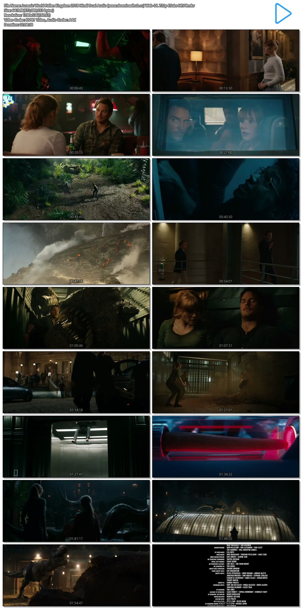 Jurassic World Fallen Kingdom 2018 Hindi Dual Audio 650MB Web-DL 720p ESubs HEVC