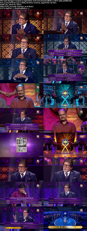 Kaun Banega Crorepati 4th September 2018 300MB HDTV 480p