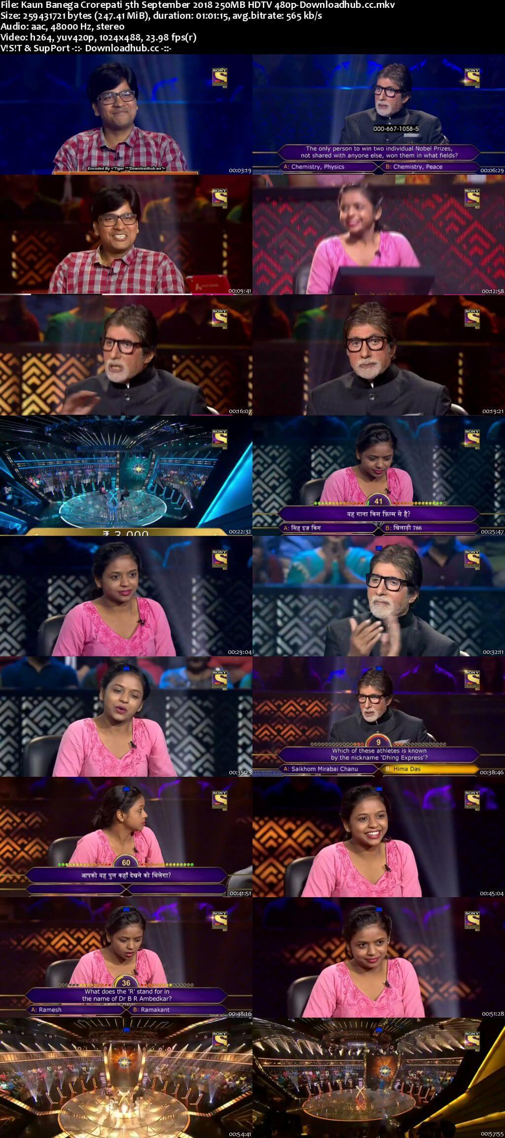Kaun Banega Crorepati 5th September 2018 250MB HDTV 480p