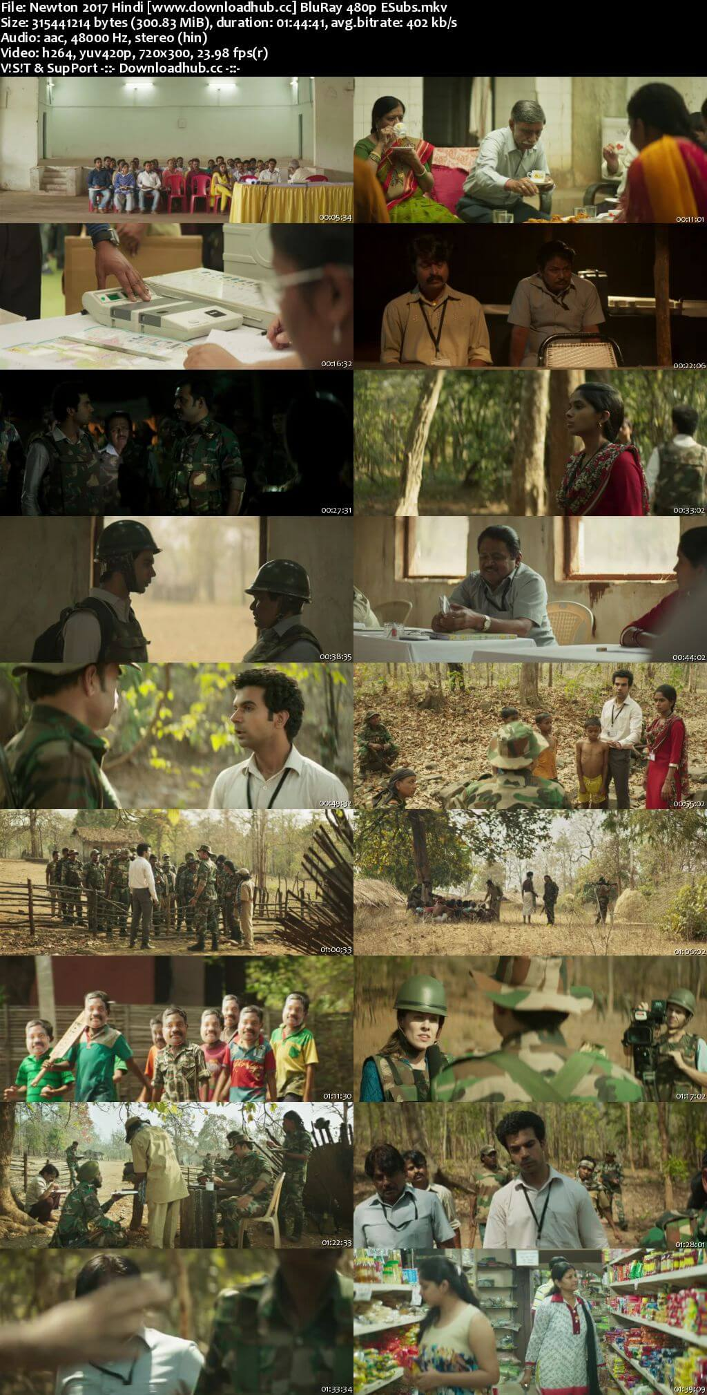 Newton 2017 Hindi 300MB BluRay 480p ESubs