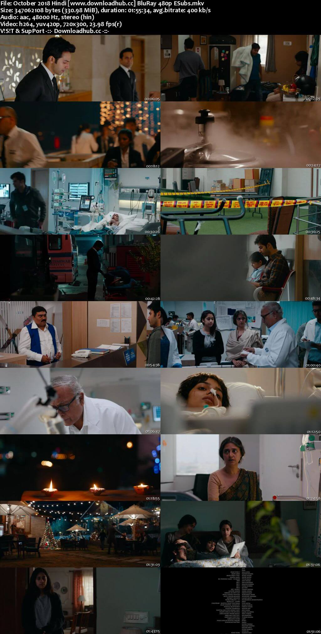 October 2018 Hindi 300MB BluRay 480p ESubs
