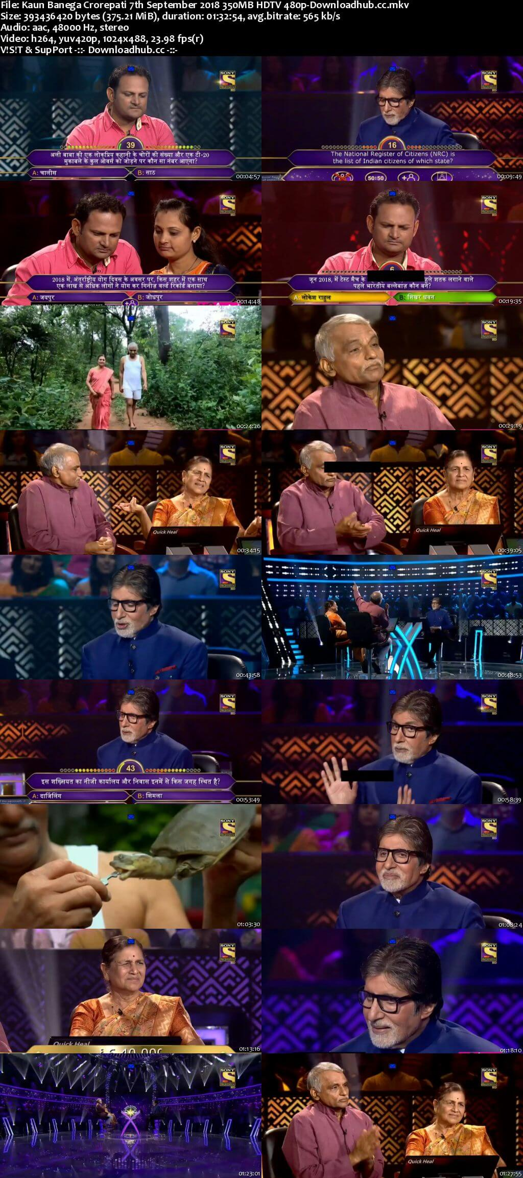 Kaun Banega Crorepati 7th September 2018 350MB HDTV 480p