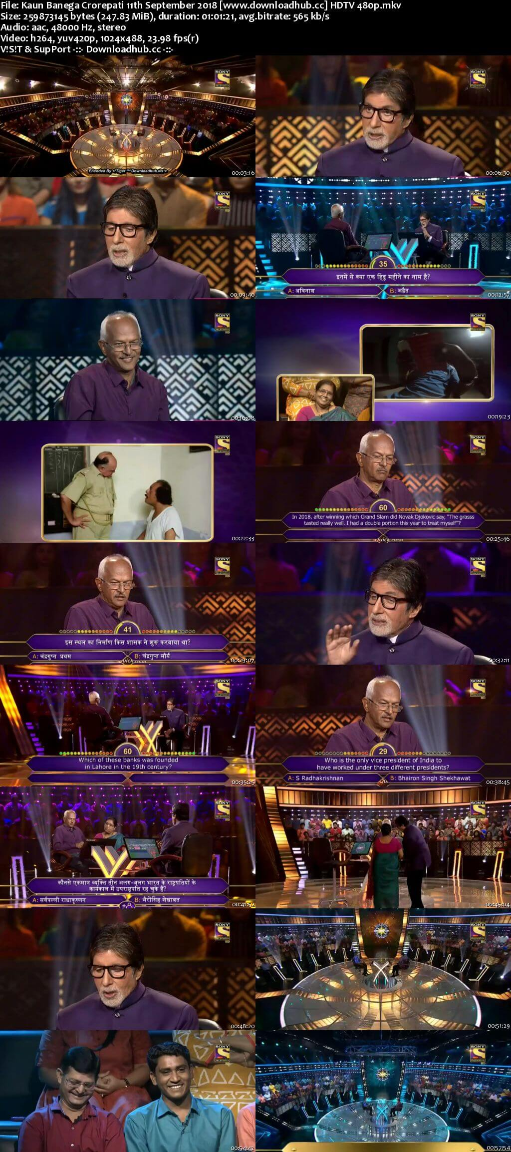 Kaun Banega Crorepati 11th September 2018 250MB HDTV 480p