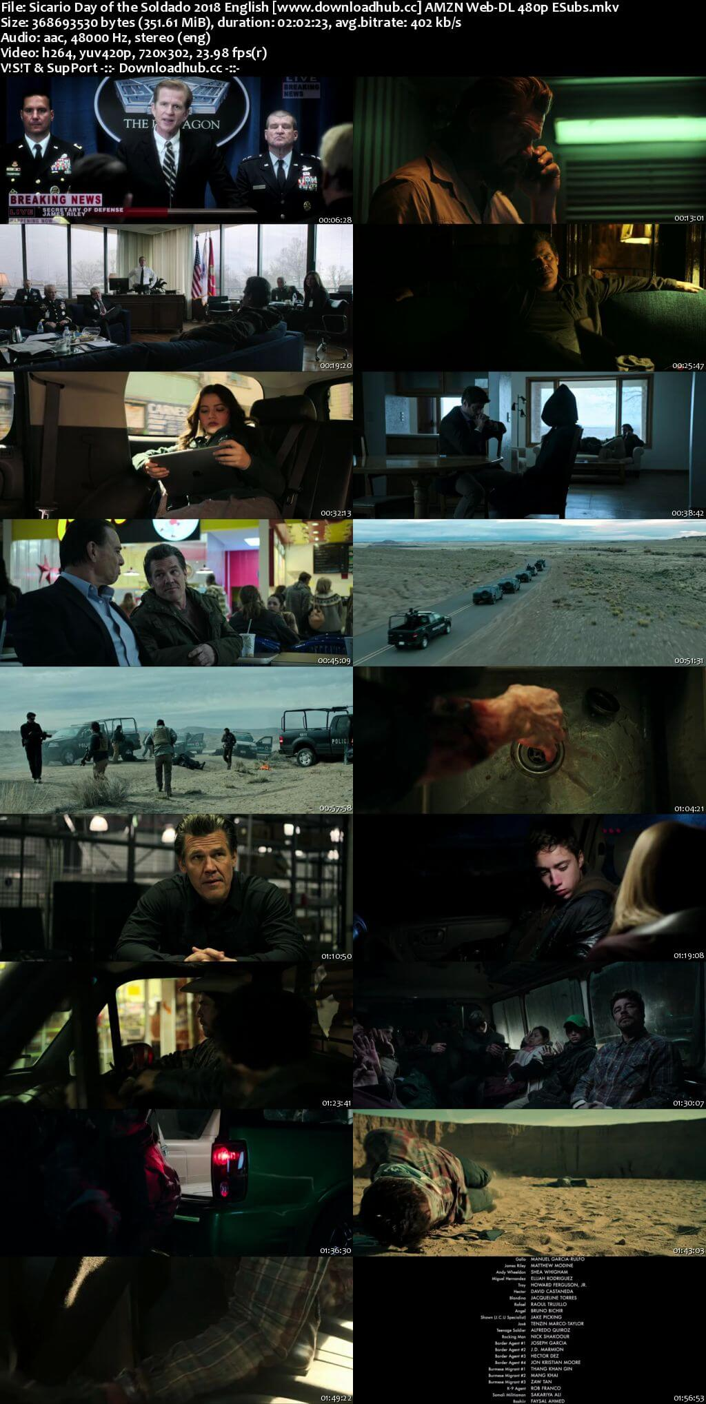 Sicario Day of the Soldado 2018 English 350MB AMZN Web-DL 480p ESubs