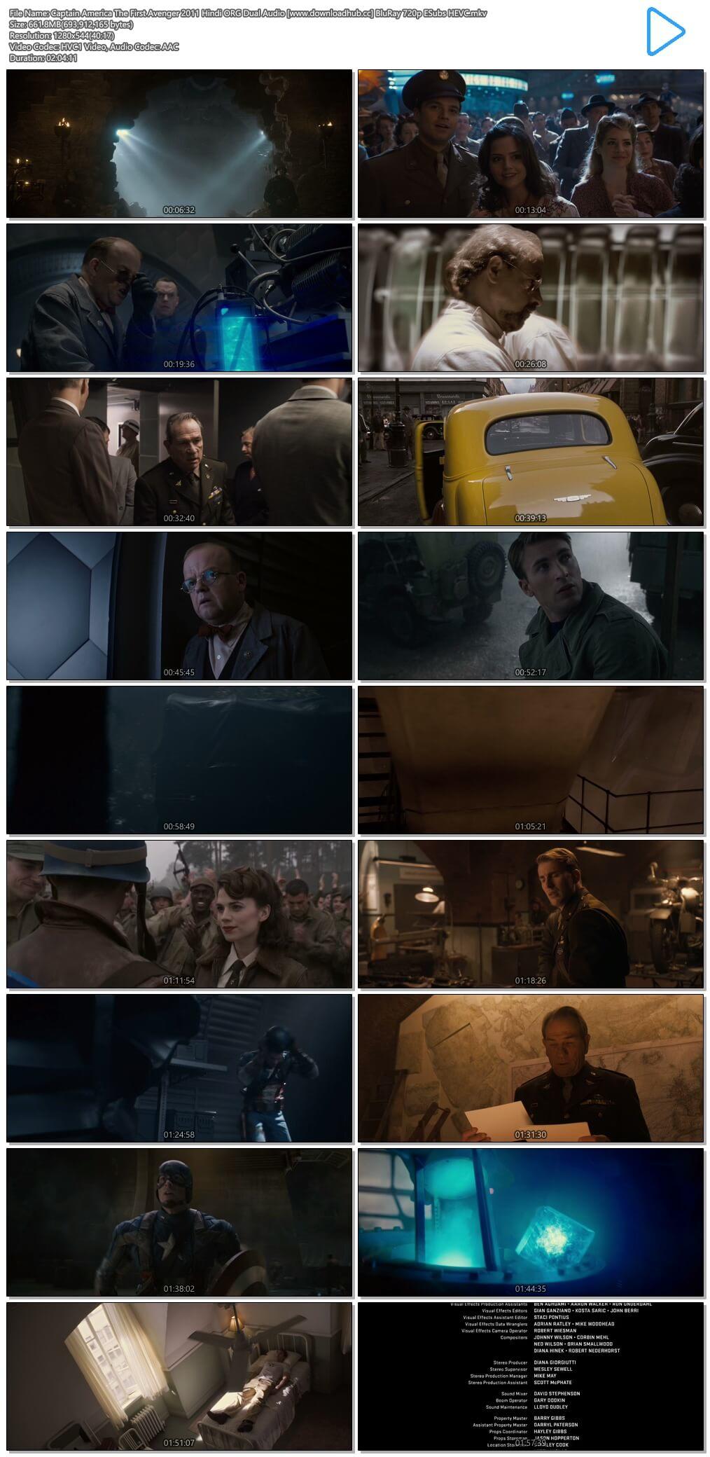 Captain America The First Avenger 2011 Hindi ORG Dual Audio 650MB BluRay 720p ESubs HEVC