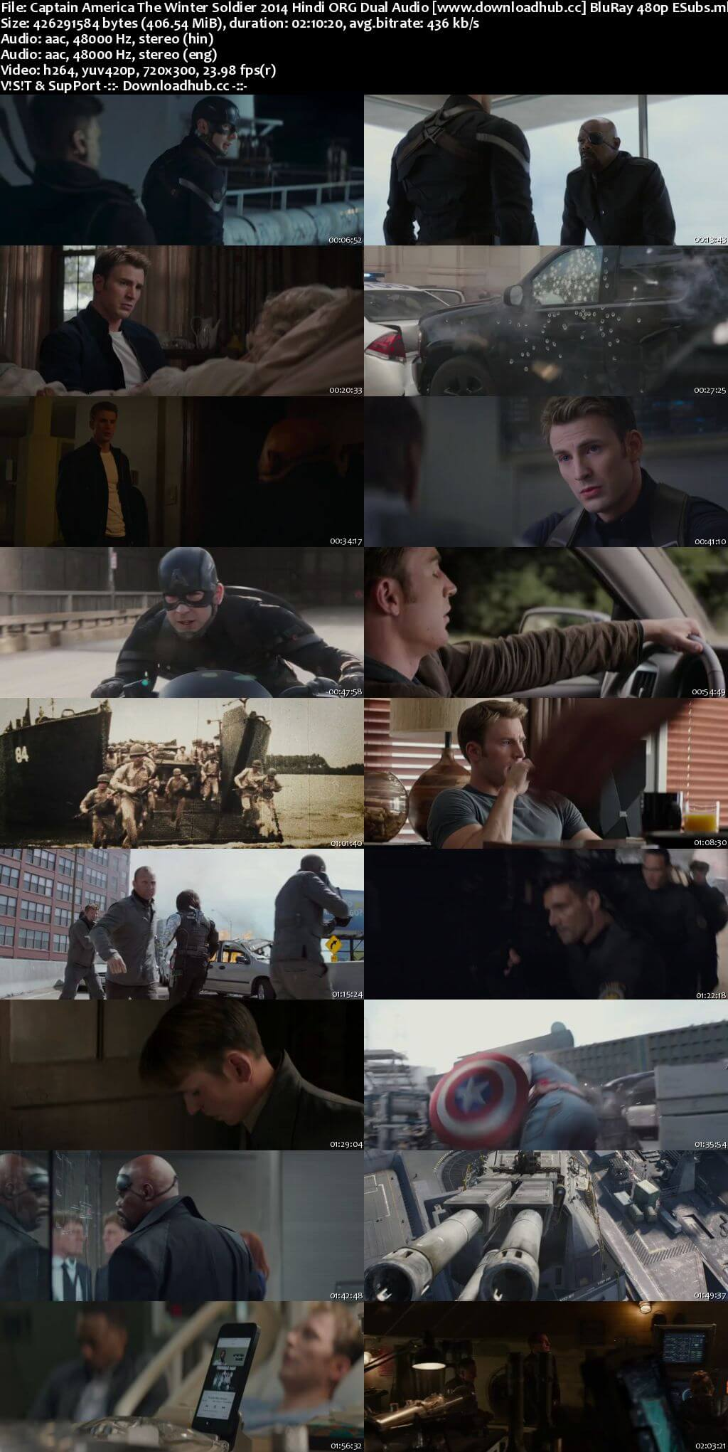 Captain America The Winter Soldier 2014 Hindi ORG Dual Audio 400MB BluRay 480p ESubs