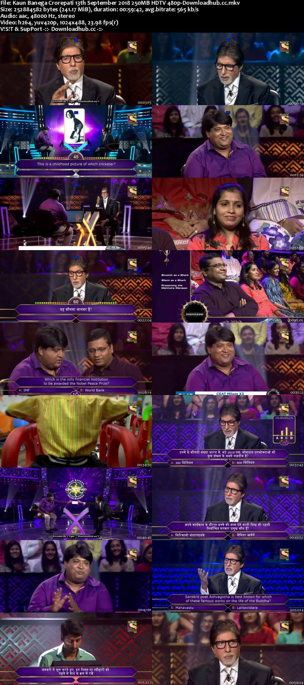 Kaun Banega Crorepati 13th September 2018 250MB HDTV 480p