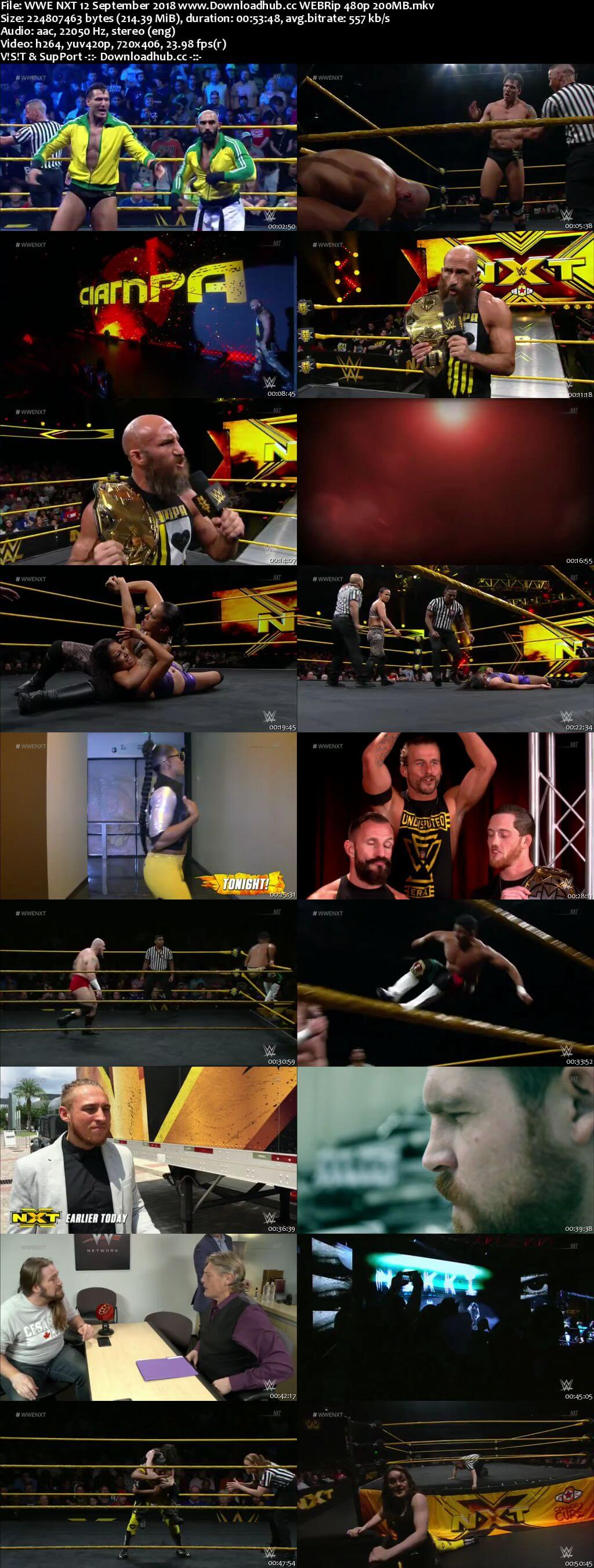 WWE NXT 12th September 2018 200MB HDTV 480p