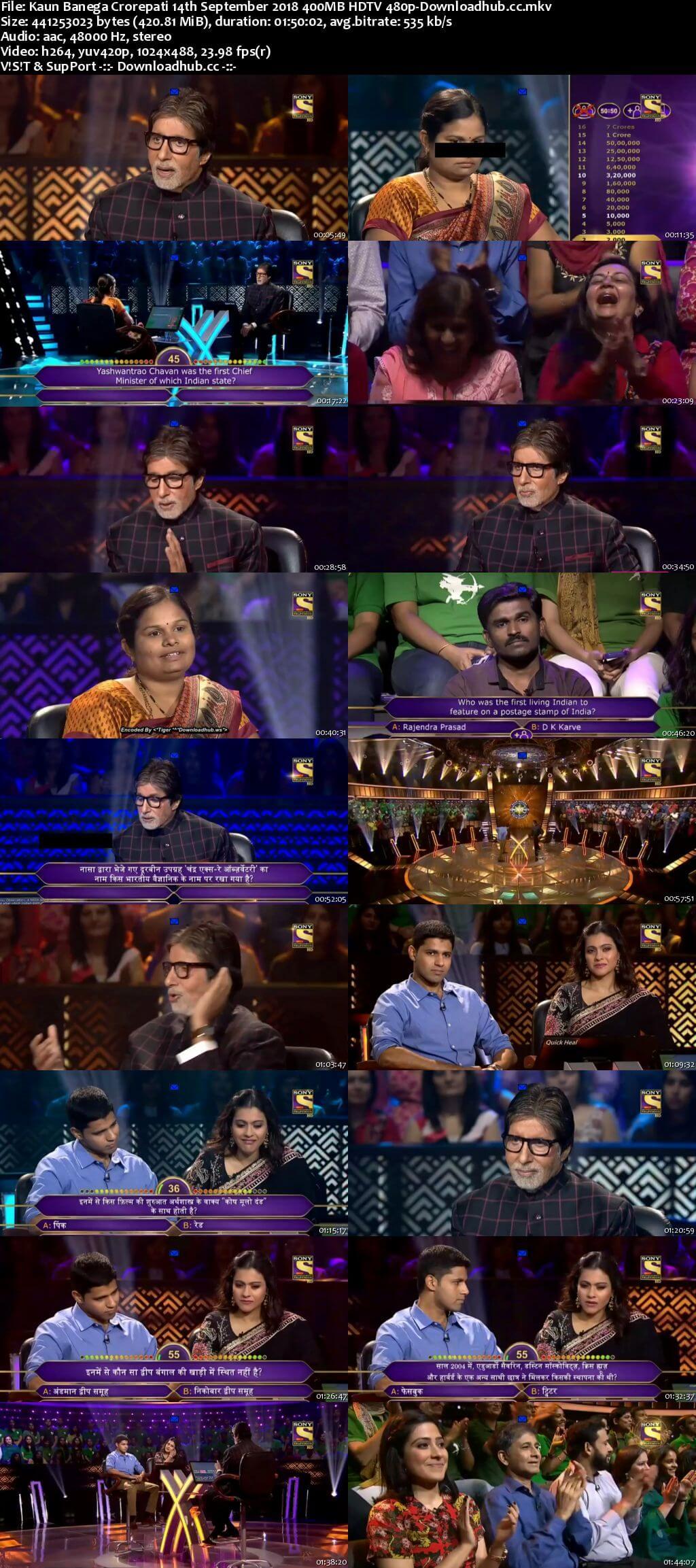 Kaun Banega Crorepati 14th September 2018 400MB HDTV 480p