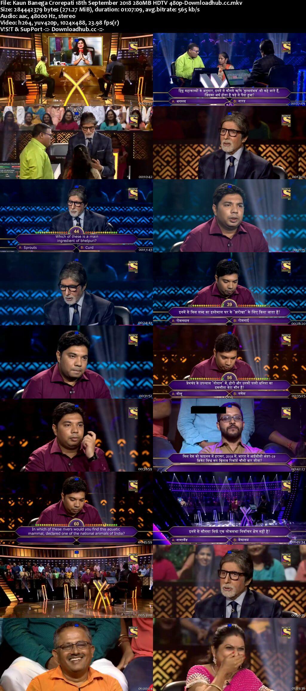 Kaun Banega Crorepati 18th September 2018 280MB HDTV 480p