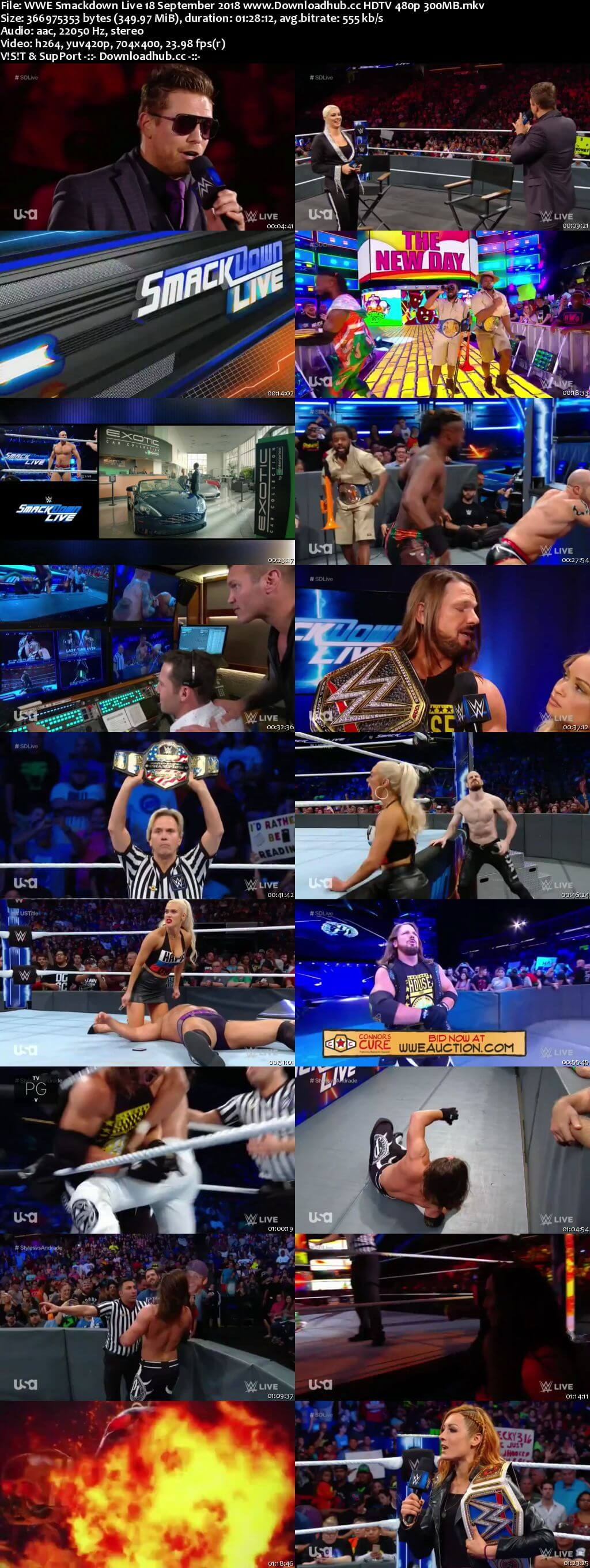 WWE Smackdown Live 18th September 2018 300MB HDTV 480p